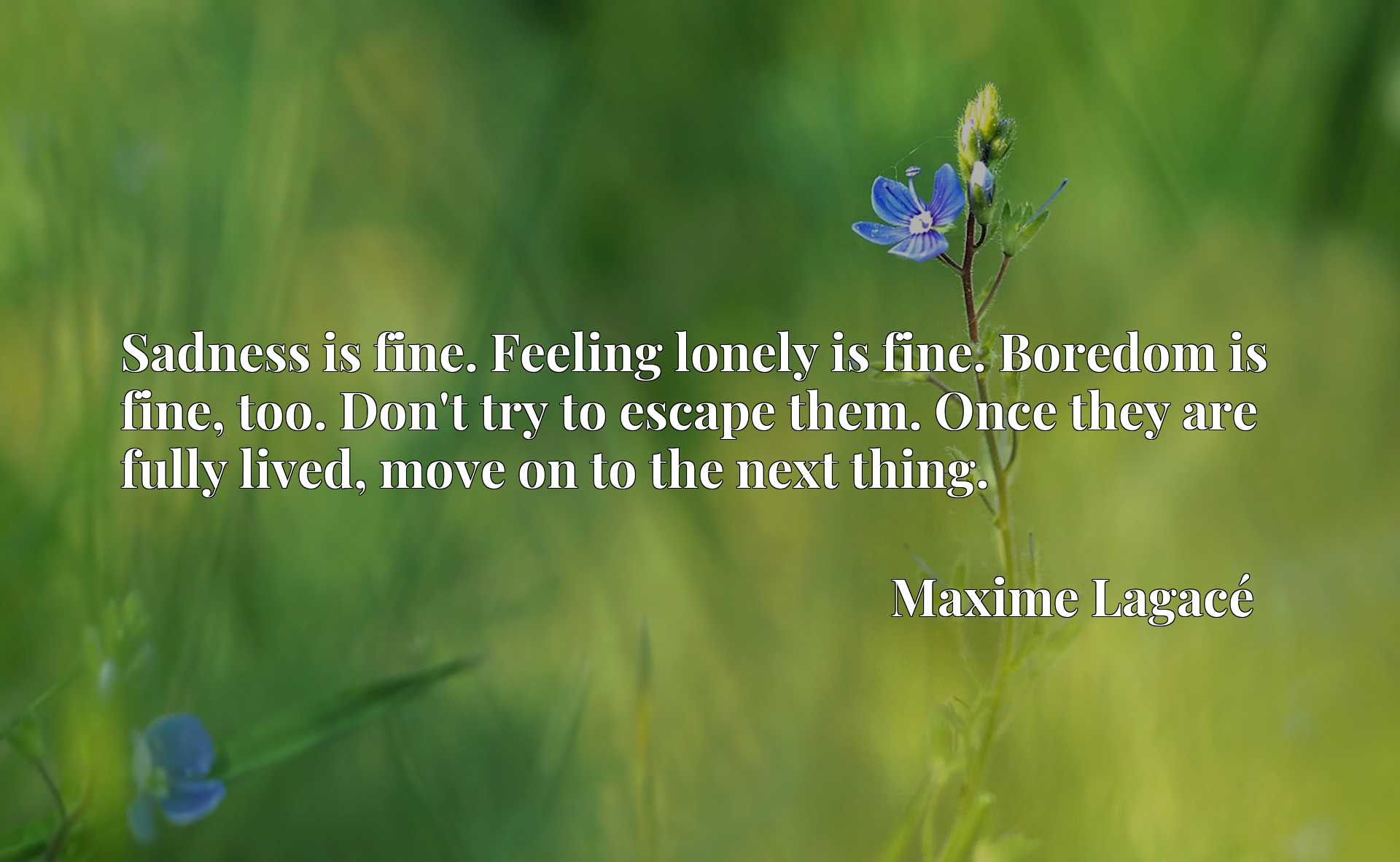 Sadness is fine. Feeling lonely is fine. Boredom is fine, too. Don't try to escape them. Once they are fully lived, move on to the next thing.