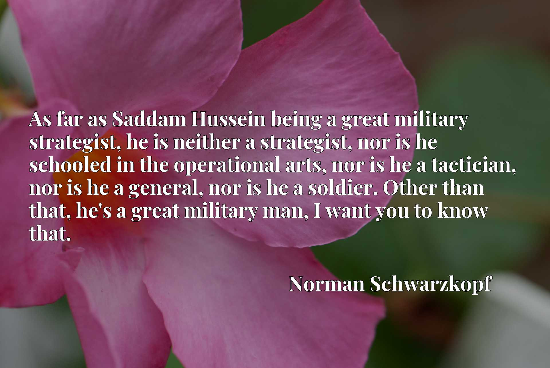 As far as Saddam Hussein being a great military strategist, he is neither a strategist, nor is he schooled in the operational arts, nor is he a tactician, nor is he a general, nor is he a soldier. Other than that, he's a great military man, I want you to know that.