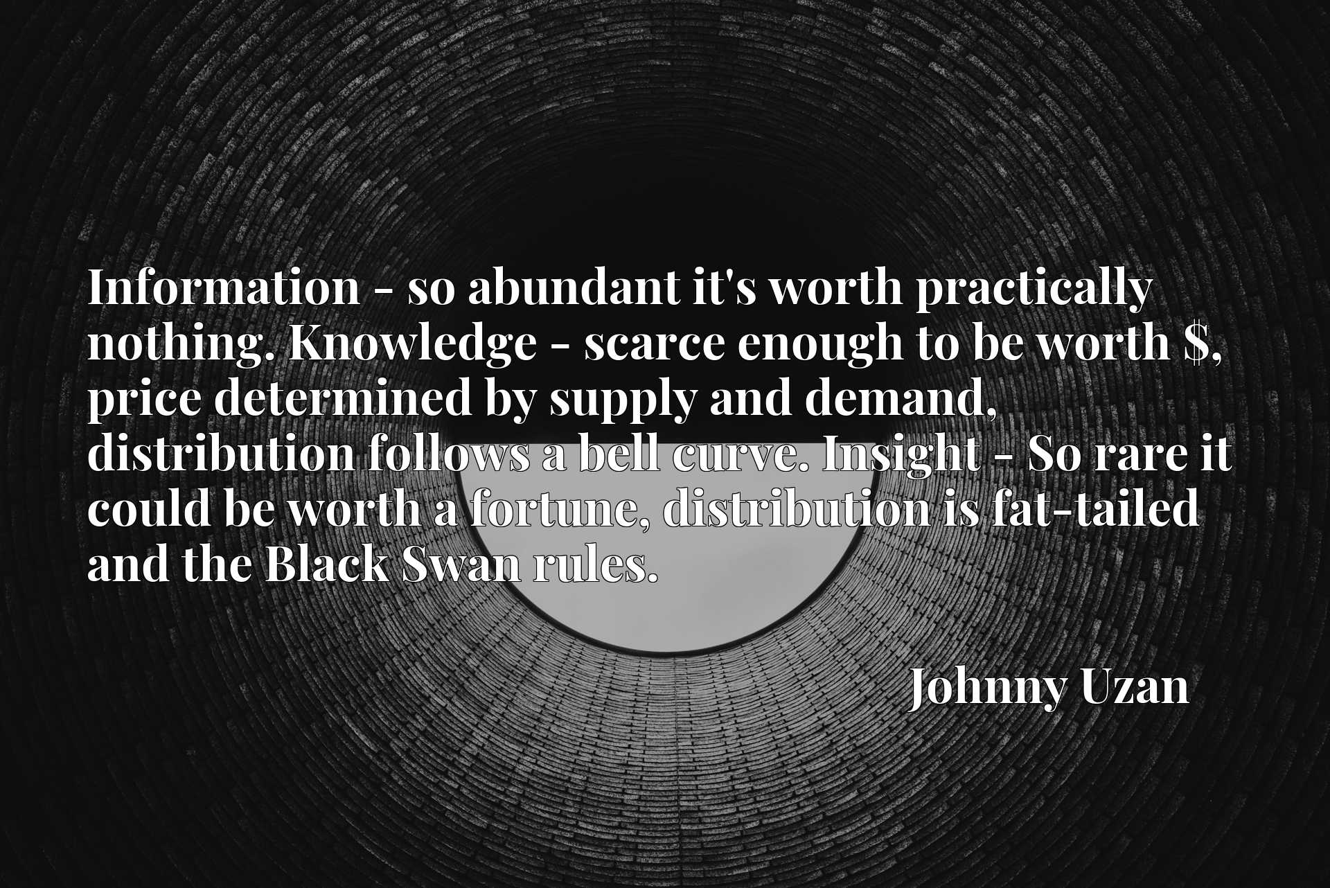 Information - so abundant it's worth practically nothing. Knowledge - scarce enough to be worth $, price determined by supply and demand, distribution follows a bell curve. Insight - So rare it could be worth a fortune, distribution is fat-tailed and the Black Swan rules.