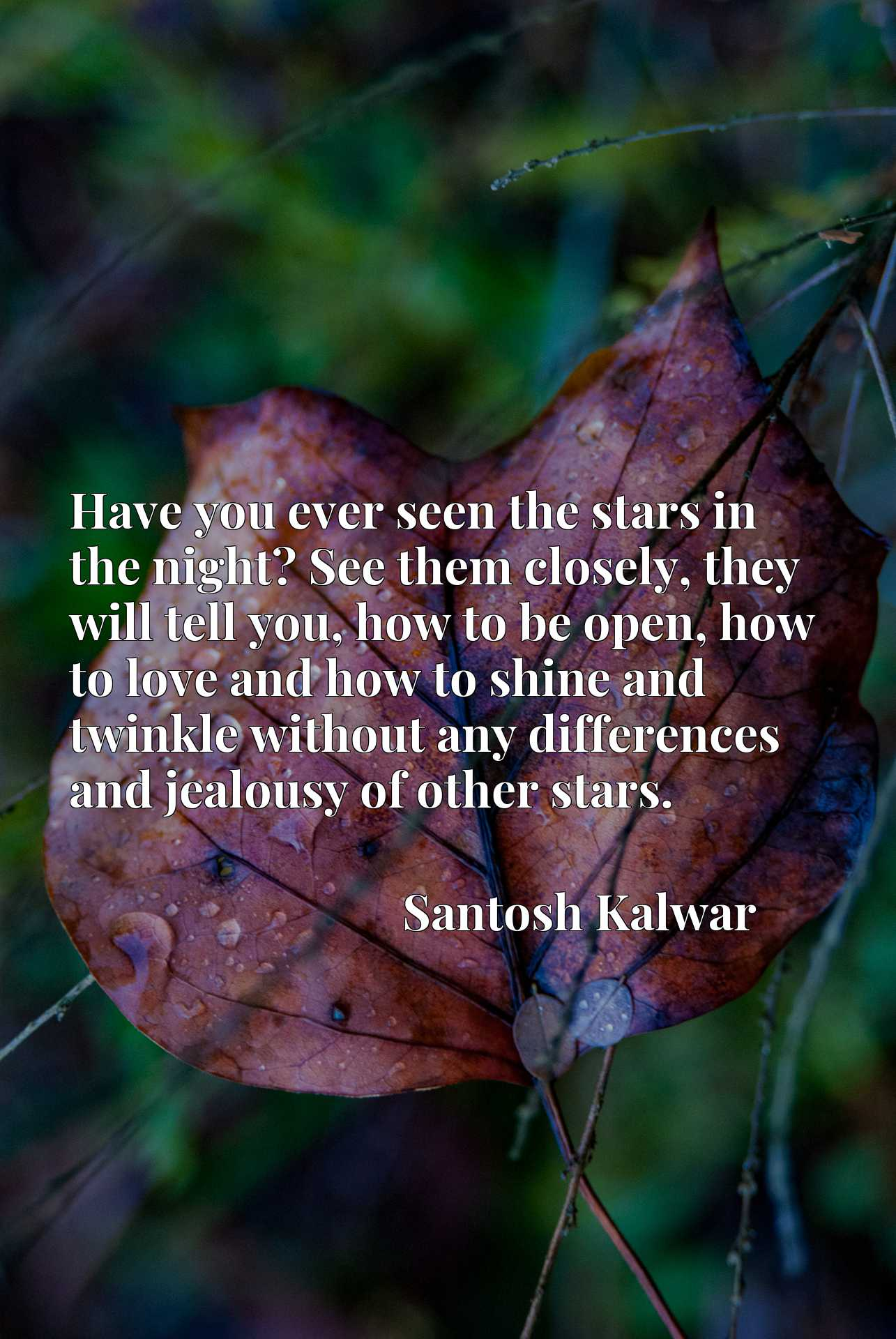 Have you ever seen the stars in the night? See them closely, they will tell you, how to be open, how to love and how to shine and twinkle without any differences and jealousy of other stars.