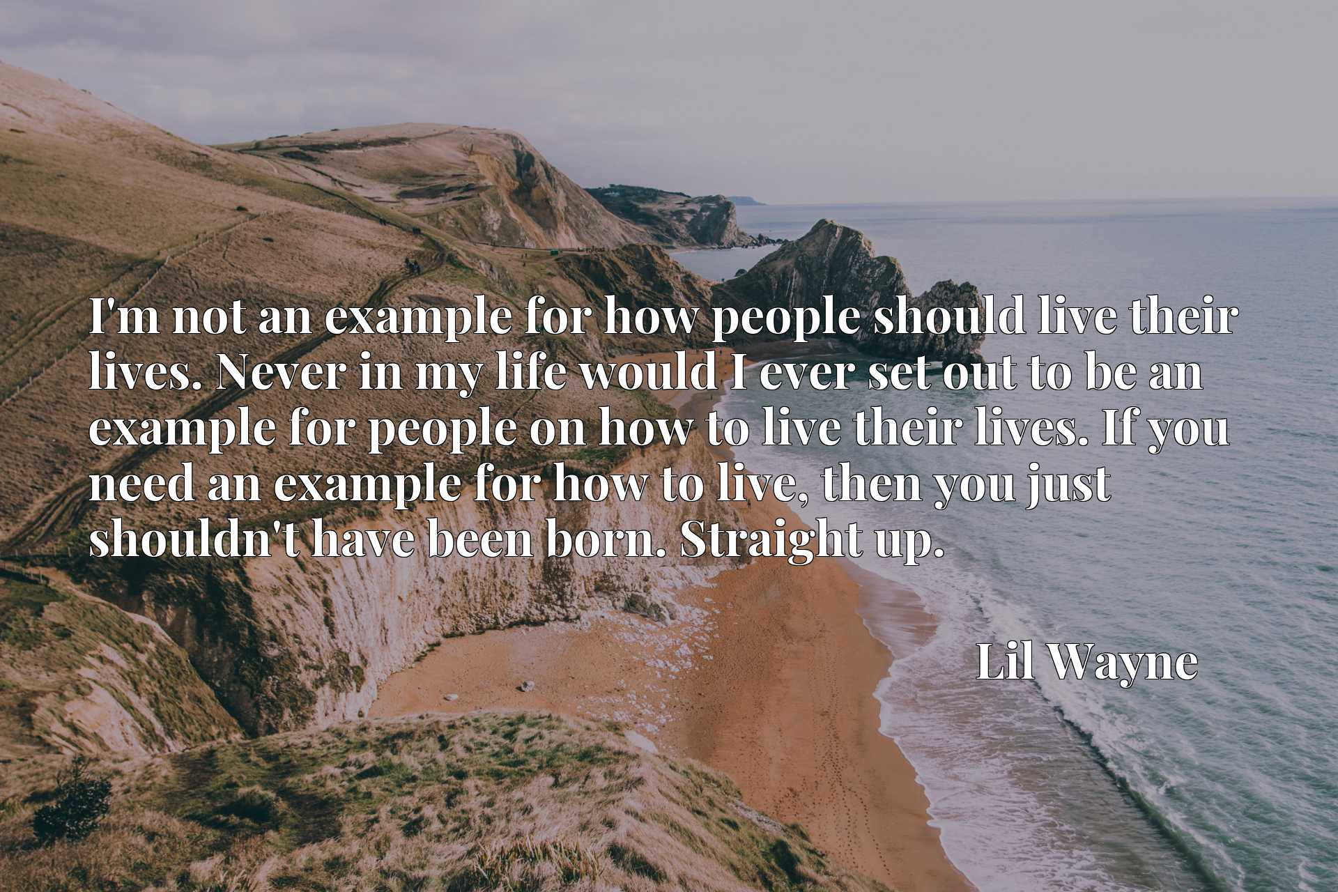 I'm not an example for how people should live their lives. Never in my life would I ever set out to be an example for people on how to live their lives. If you need an example for how to live, then you just shouldn't have been born. Straight up.