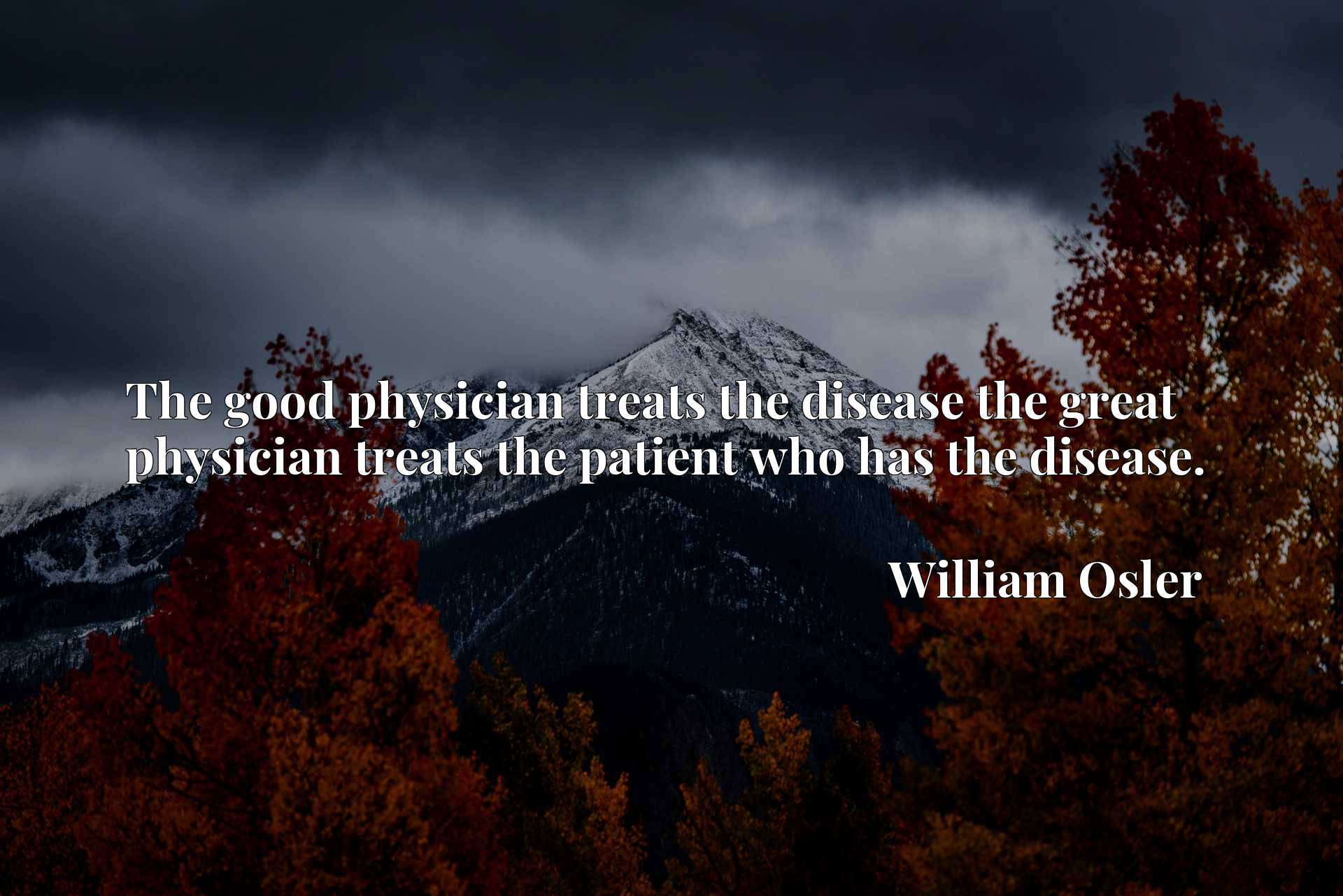 The good physician treats the disease the great physician treats the patient who has the disease.