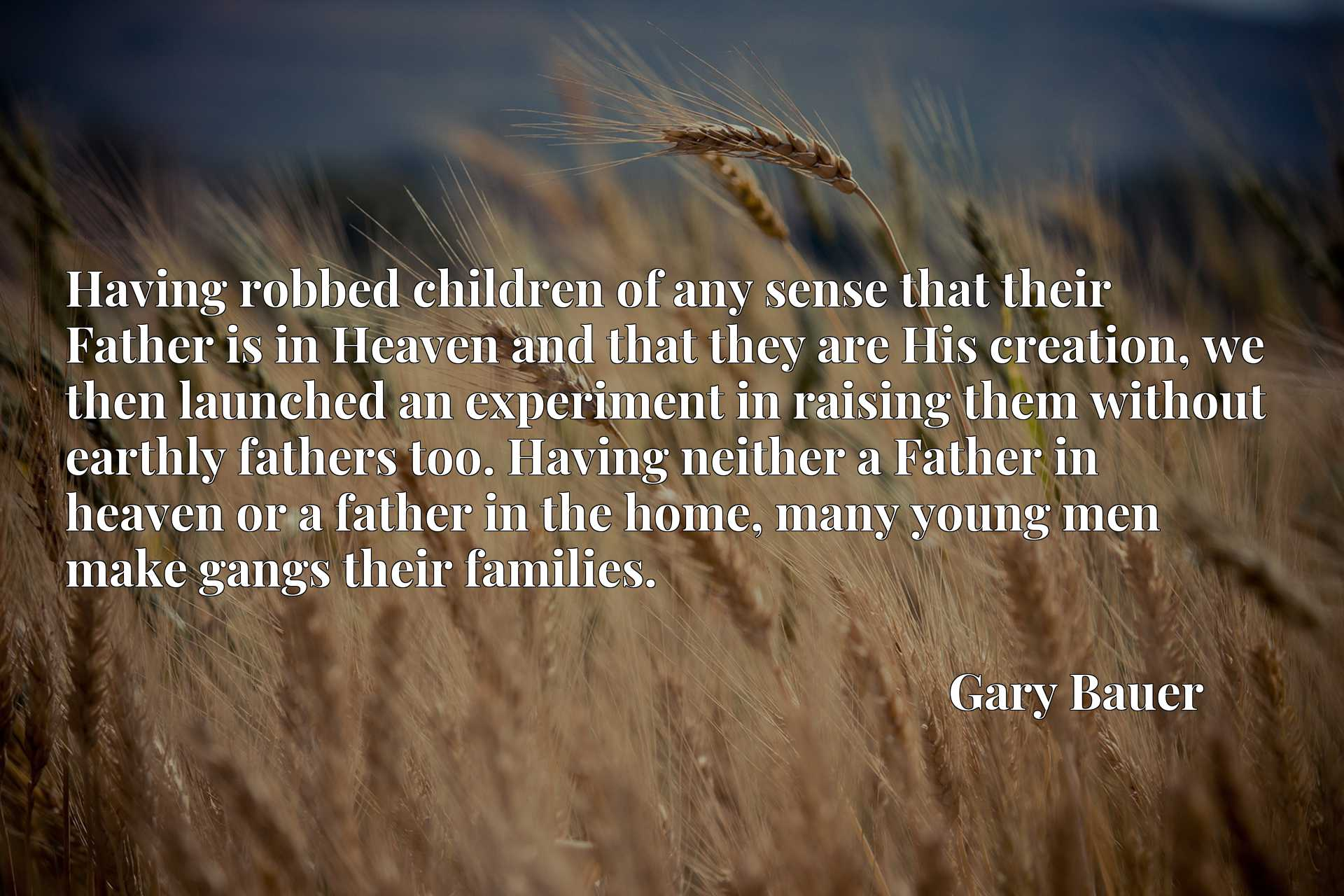 Having robbed children of any sense that their Father is in Heaven and that they are His creation, we then launched an experiment in raising them without earthly fathers too. Having neither a Father in heaven or a father in the home, many young men make gangs their families.