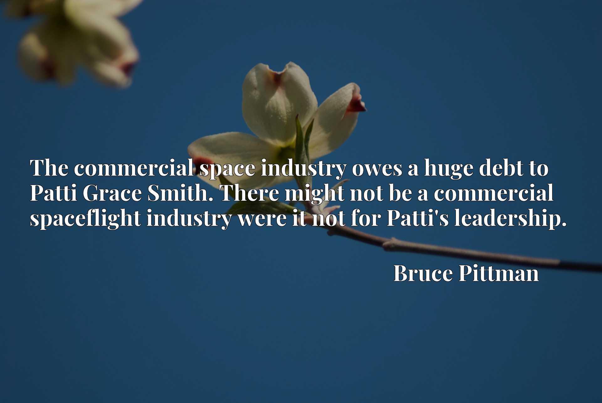 The commercial space industry owes a huge debt to Patti Grace Smith. There might not be a commercial spaceflight industry were it not for Patti's leadership.