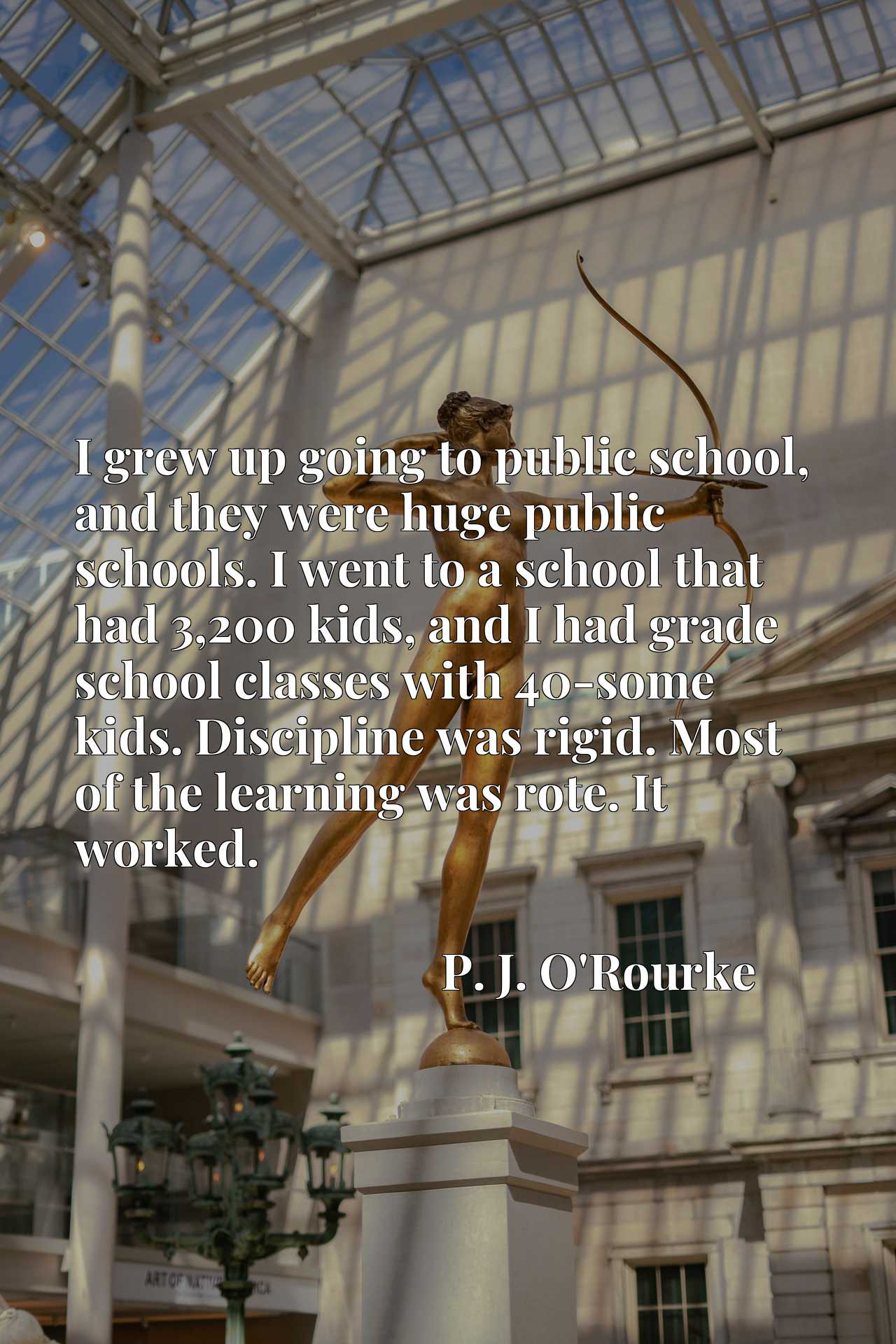 I grew up going to public school, and they were huge public schools. I went to a school that had 3,200 kids, and I had grade school classes with 40-some kids. Discipline was rigid. Most of the learning was rote. It worked.