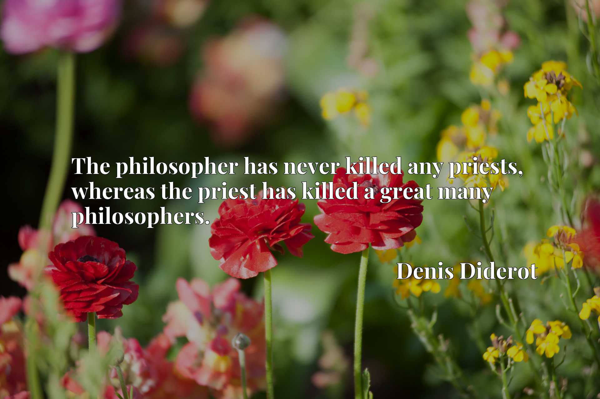 The philosopher has never killed any priests, whereas the priest has killed a great many philosophers.