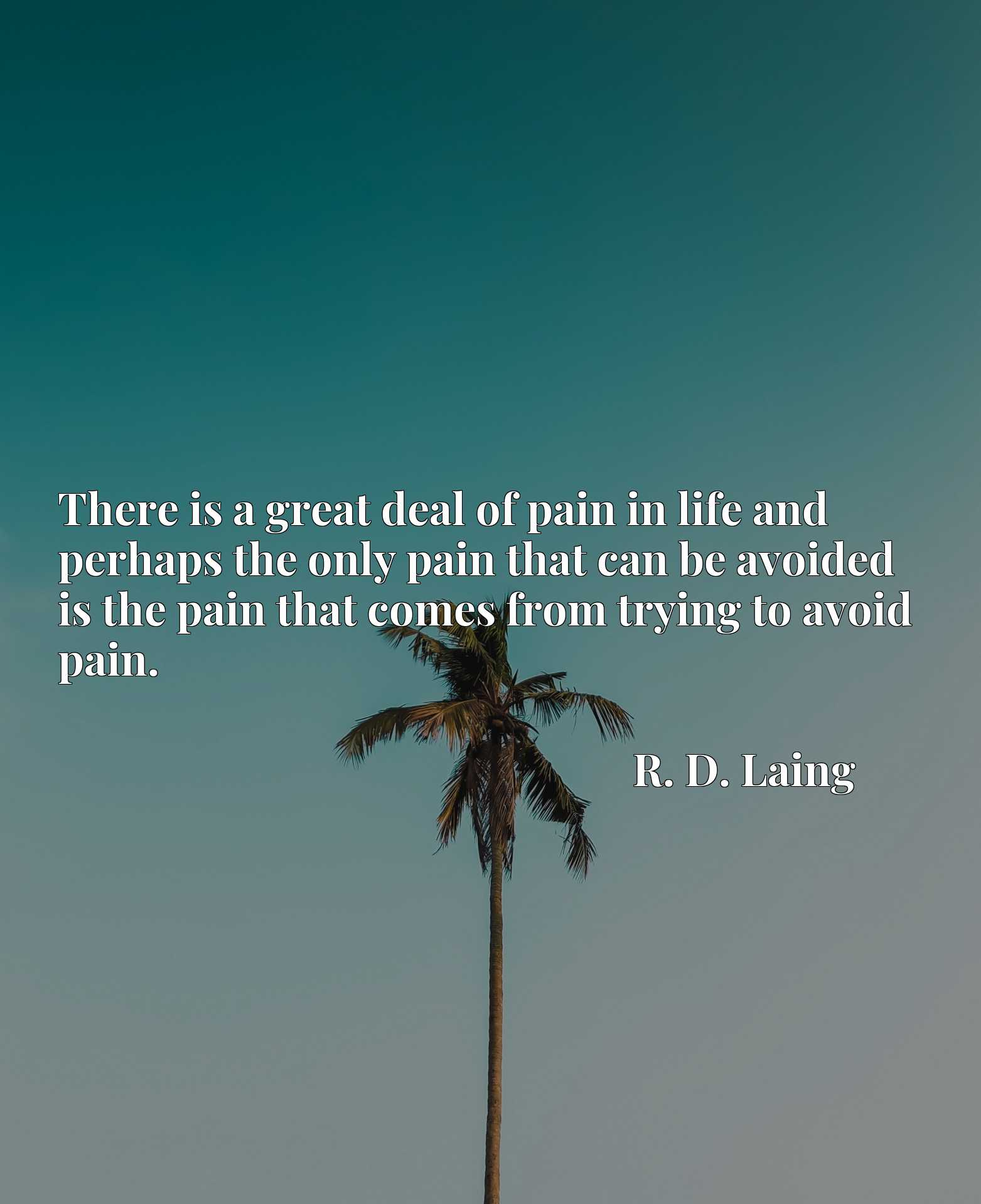 There is a great deal of pain in life and perhaps the only pain that can be avoided is the pain that comes from trying to avoid pain.