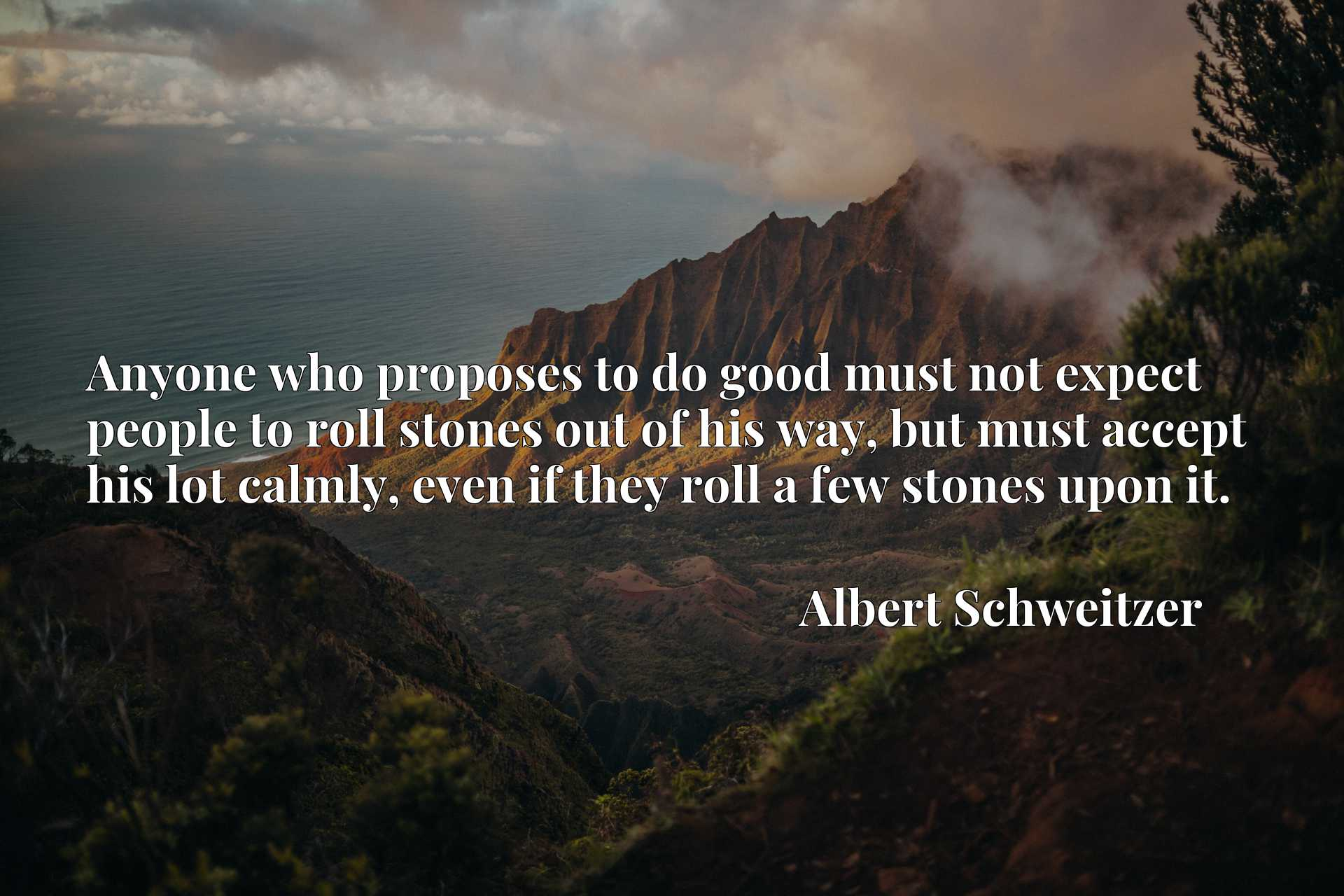 Anyone who proposes to do good must not expect people to roll stones out of his way, but must accept his lot calmly, even if they roll a few stones upon it.