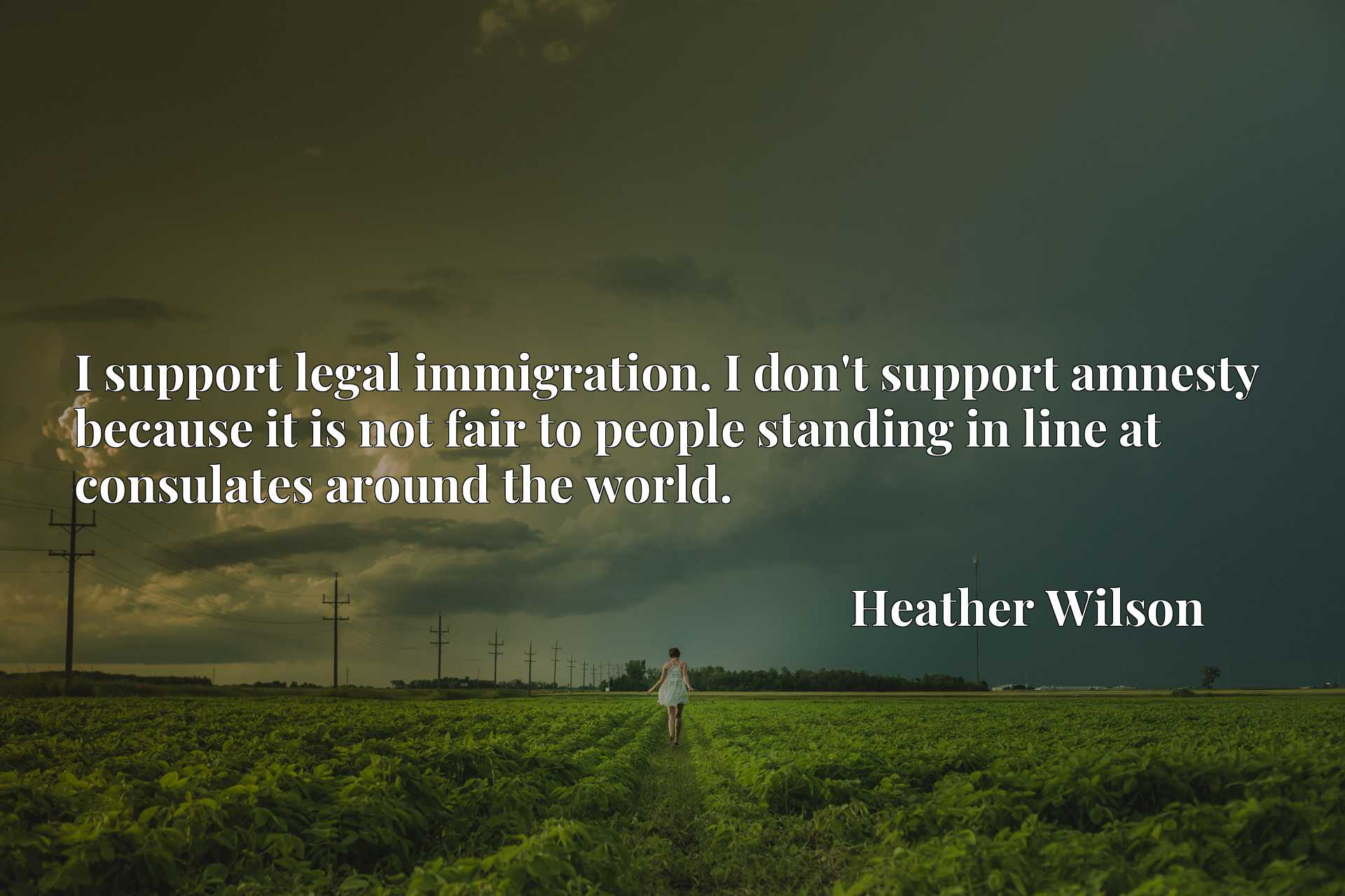 I support legal immigration. I don't support amnesty because it is not fair to people standing in line at consulates around the world.
