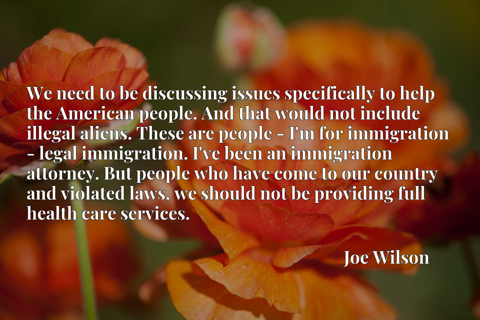 We need to be discussing issues specifically to help the American people. And that would not include illegal aliens. These are people - I'm for immigration - legal immigration. I've been an immigration attorney. But people who have come to our country and violated laws, we should not be providing full health care services.