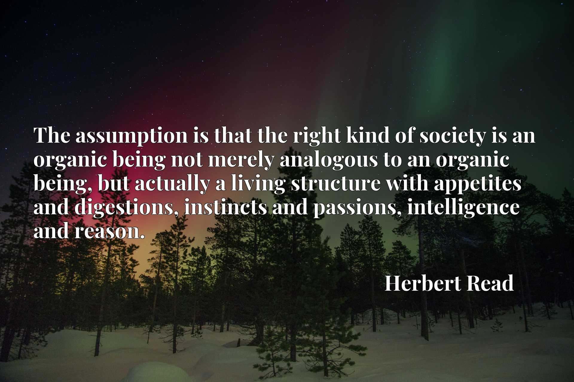The assumption is that the right kind of society is an organic being not merely analogous to an organic being, but actually a living structure with appetites and digestions, instincts and passions, intelligence and reason.