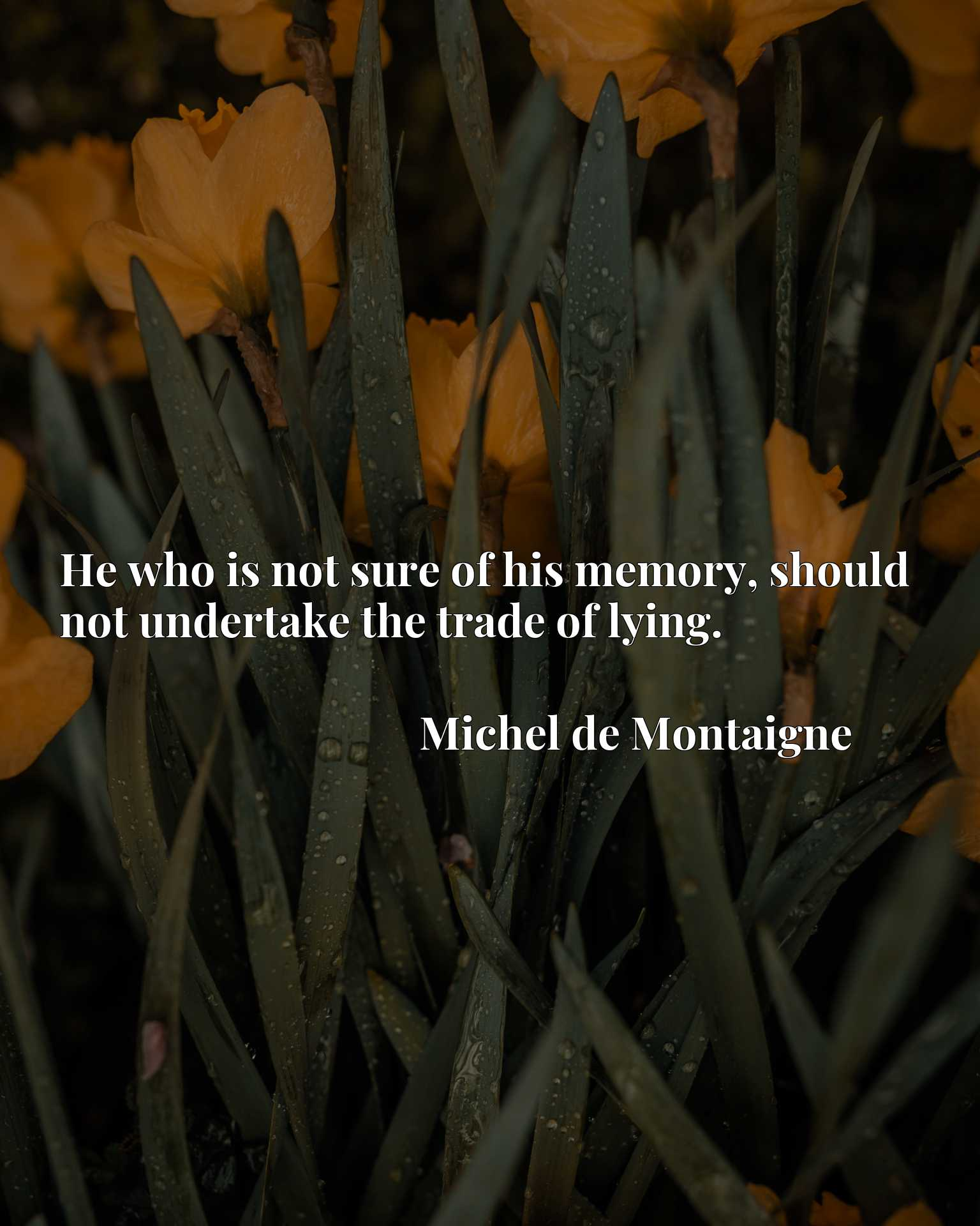 He who is not sure of his memory, should not undertake the trade of lying.