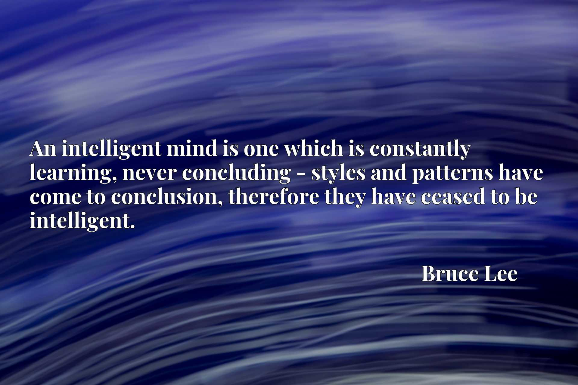 An intelligent mind is one which is constantly learning, never concluding - styles and patterns have come to conclusion, therefore they have ceased to be intelligent.