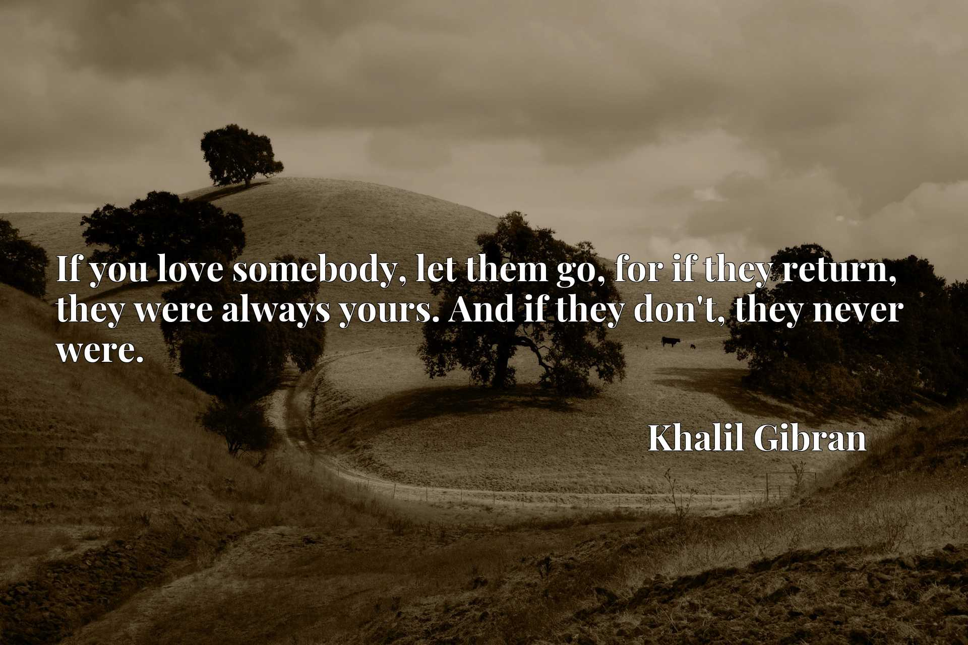 If you love somebody, let them go, for if they return, they were always yours. And if they don't, they never were.