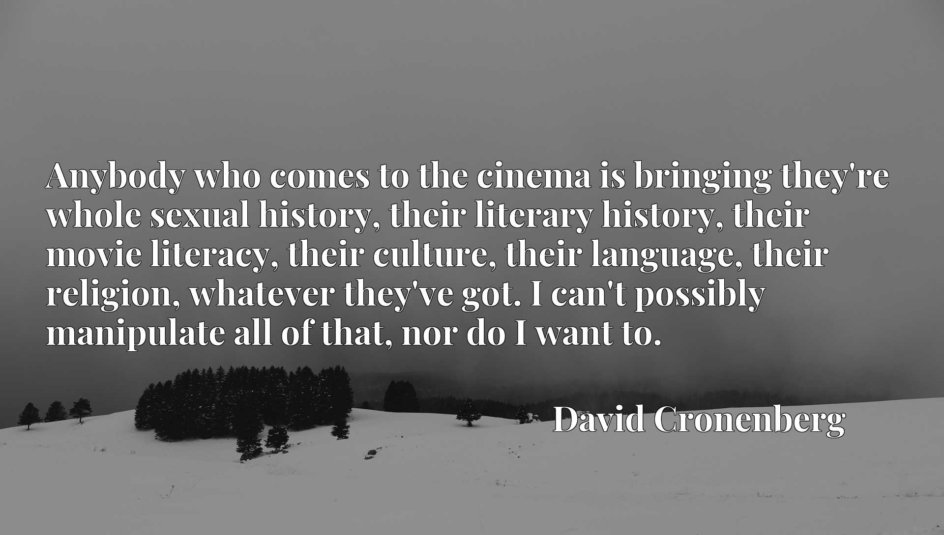 Anybody who comes to the cinema is bringing they're whole sexual history, their literary history, their movie literacy, their culture, their language, their religion, whatever they've got. I can't possibly manipulate all of that, nor do I want to.