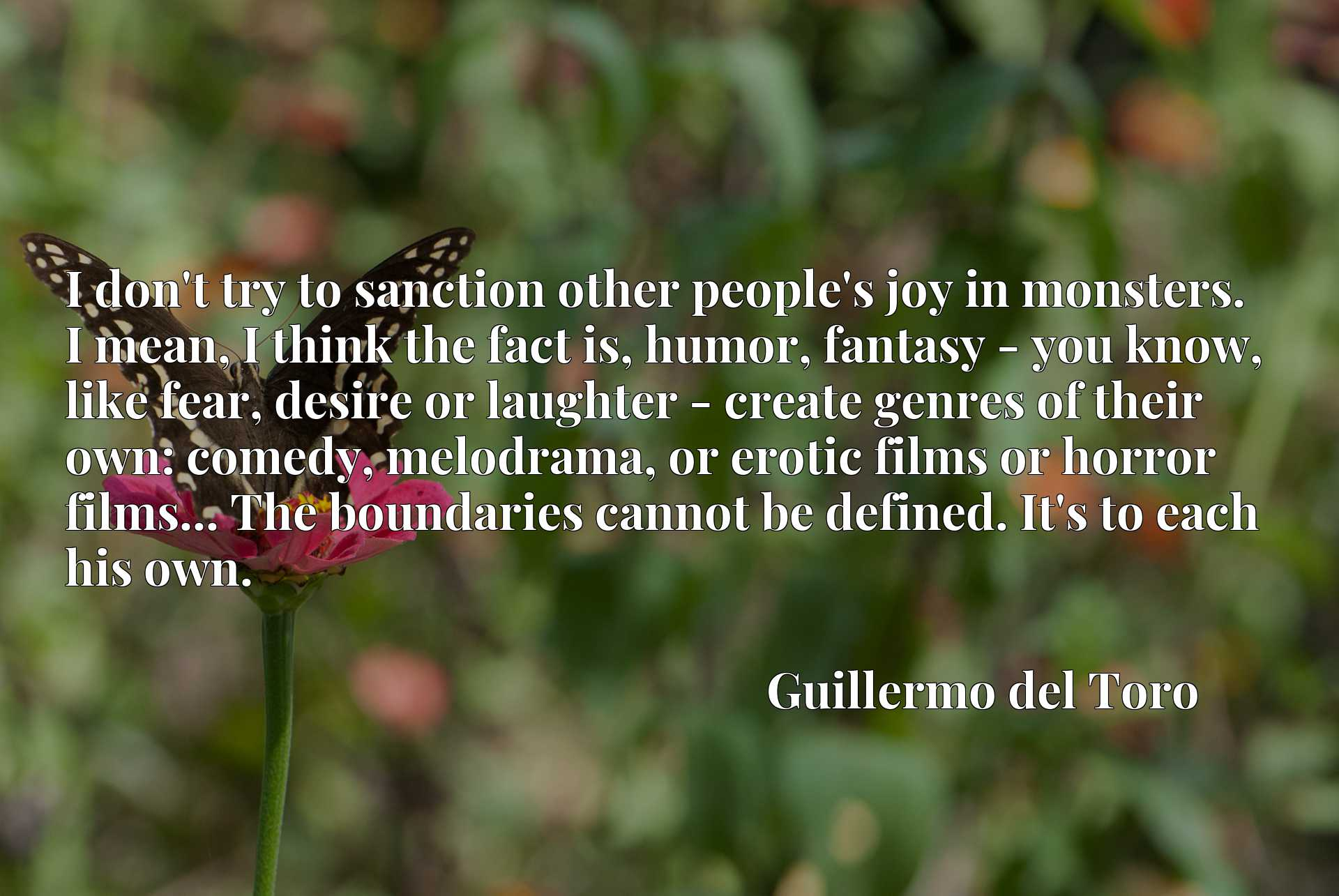 I don't try to sanction other people's joy in monsters. I mean, I think the fact is, humor, fantasy - you know, like fear, desire or laughter - create genres of their own: comedy, melodrama, or erotic films or horror films... The boundaries cannot be defined. It's to each his own.