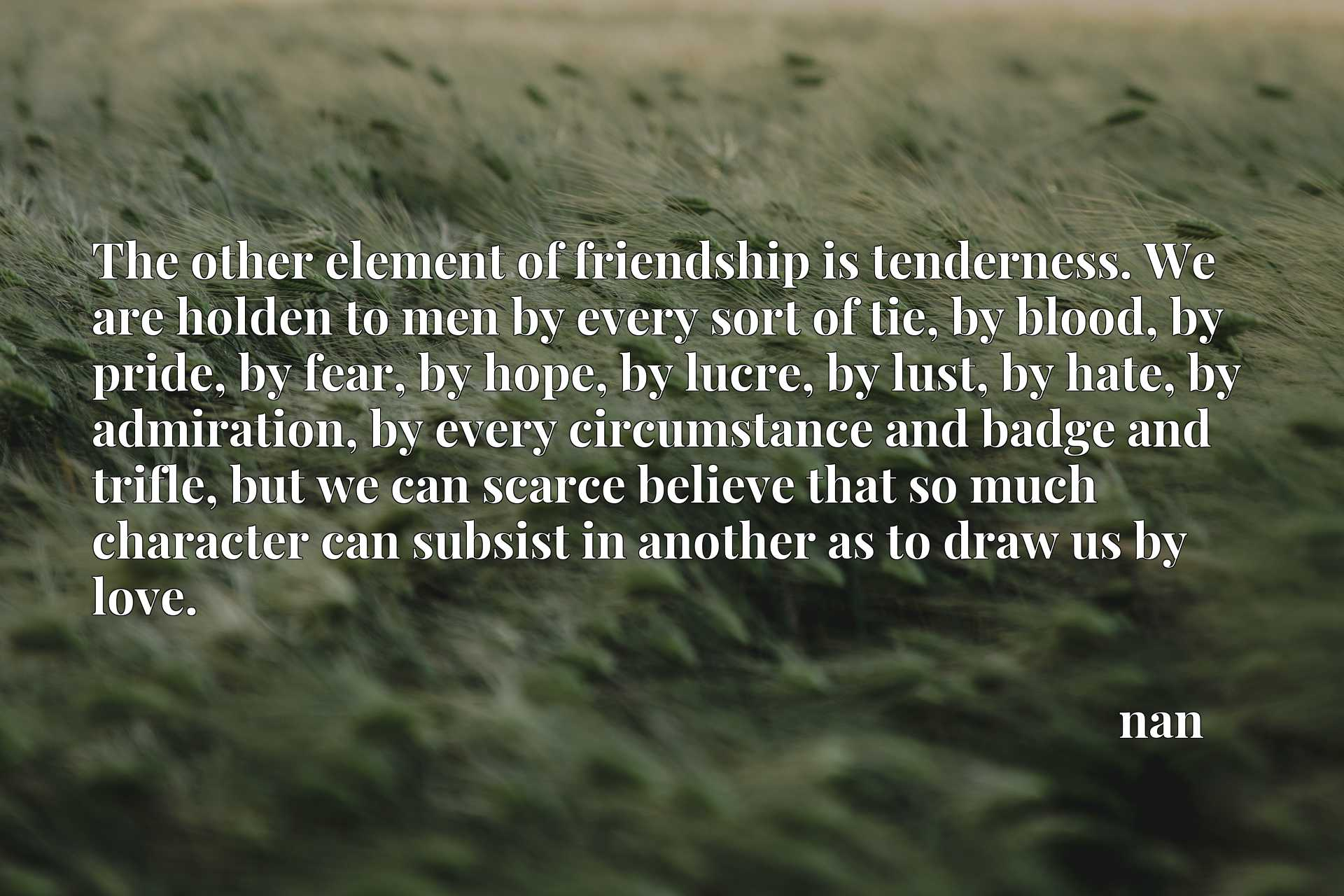 The other element of friendship is tenderness. We are holden to men by every sort of tie, by blood, by pride, by fear, by hope, by lucre, by lust, by hate, by admiration, by every circumstance and badge and trifle, but we can scarce believe that so much character can subsist in another as to draw us by love.