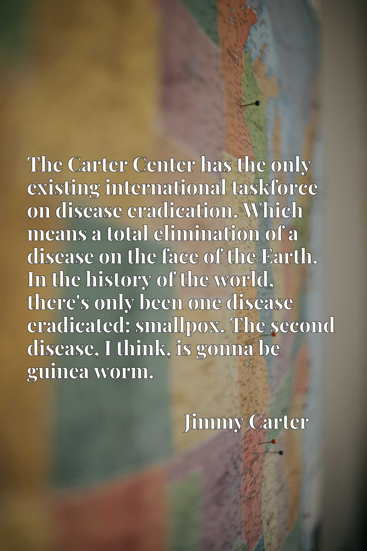The Carter Center has the only existing international taskforce on disease eradication. Which means a total elimination of a disease on the face of the Earth. In the history of the world, there's only been one disease eradicated: smallpox. The second disease, I think, is gonna be guinea worm.
