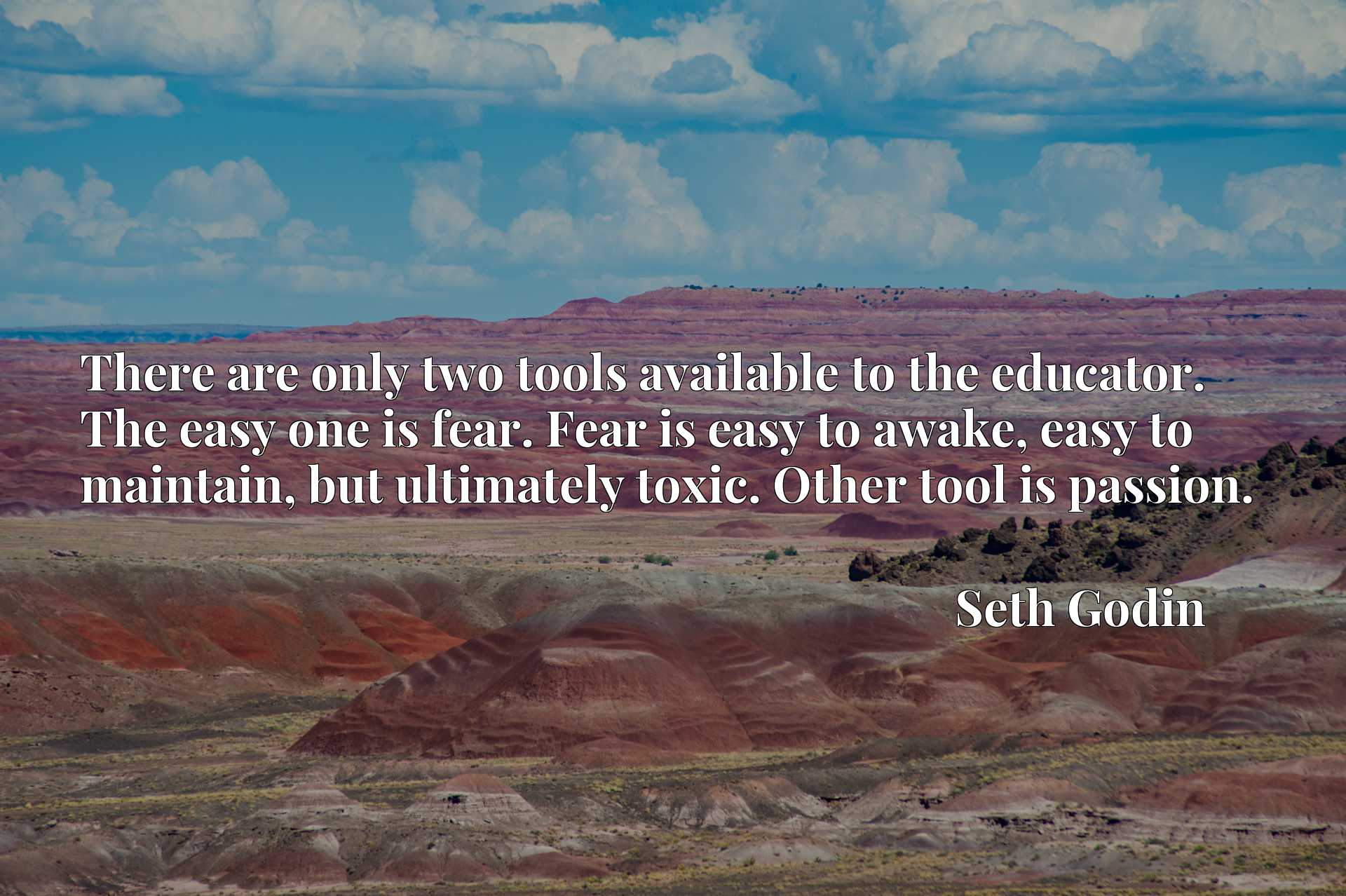 There are only two tools available to the educator. The easy one is fear. Fear is easy to awake, easy to maintain, but ultimately toxic. Other tool is passion.