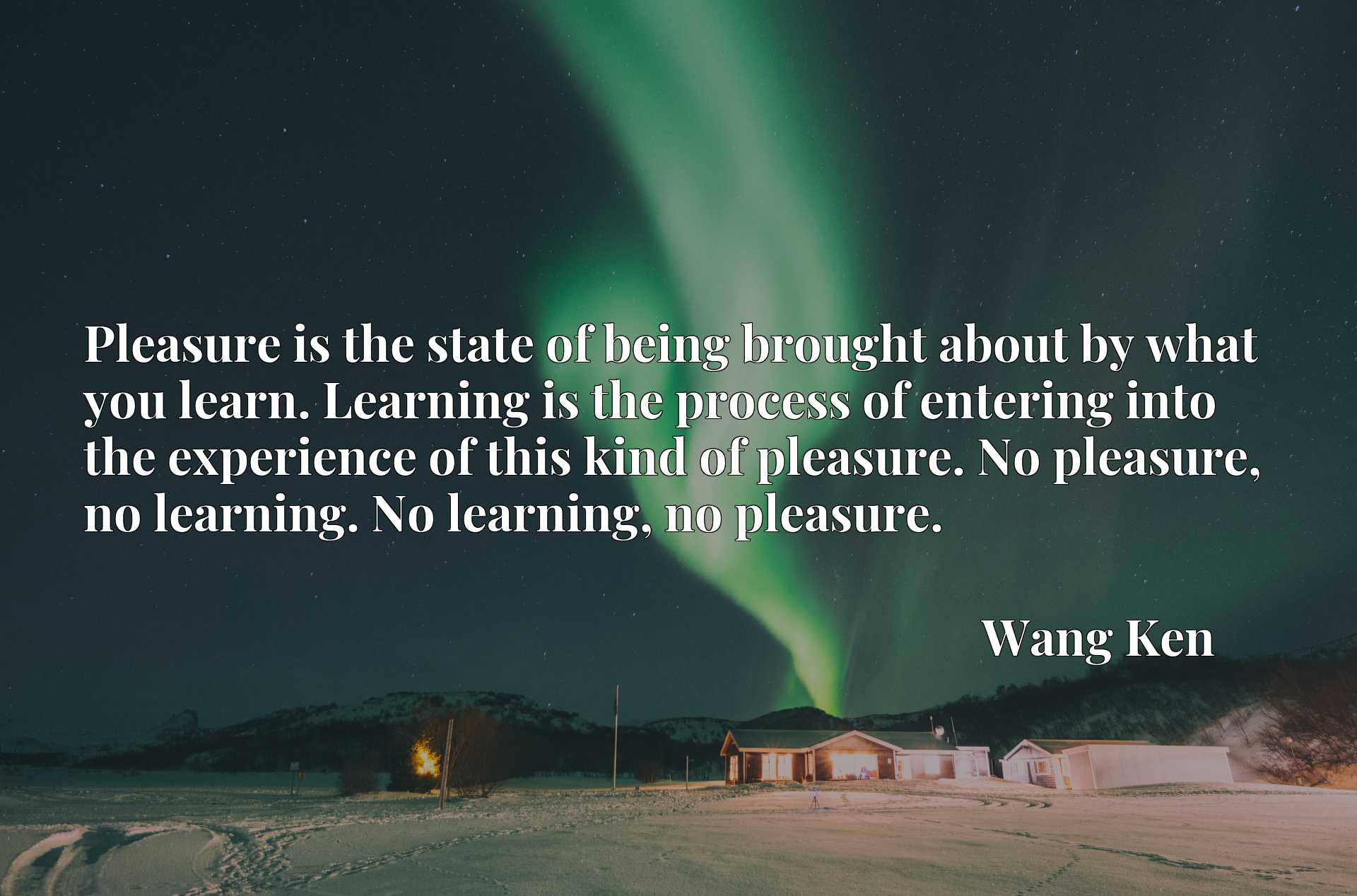 Pleasure is the state of being brought about by what you learn. Learning is the process of entering into the experience of this kind of pleasure. No pleasure, no learning. No learning, no pleasure.