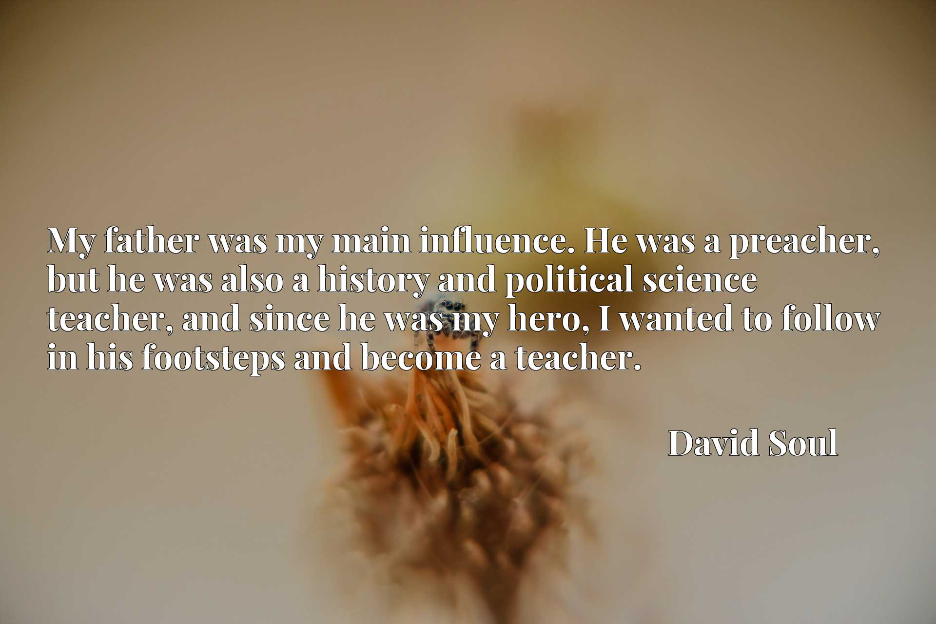 My father was my main influence. He was a preacher, but he was also a history and political science teacher, and since he was my hero, I wanted to follow in his footsteps and become a teacher.