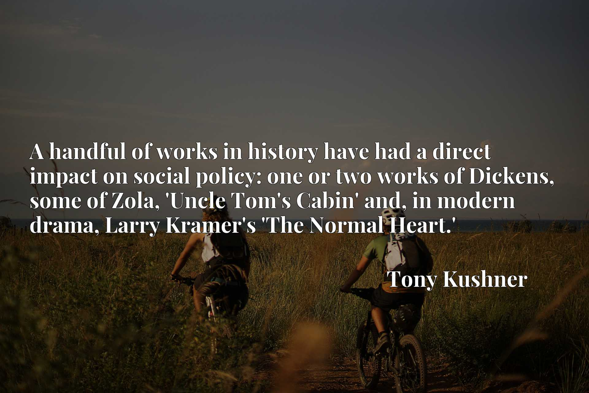 A handful of works in history have had a direct impact on social policy: one or two works of Dickens, some of Zola, 'Uncle Tom's Cabin' and, in modern drama, Larry Kramer's 'The Normal Heart.'