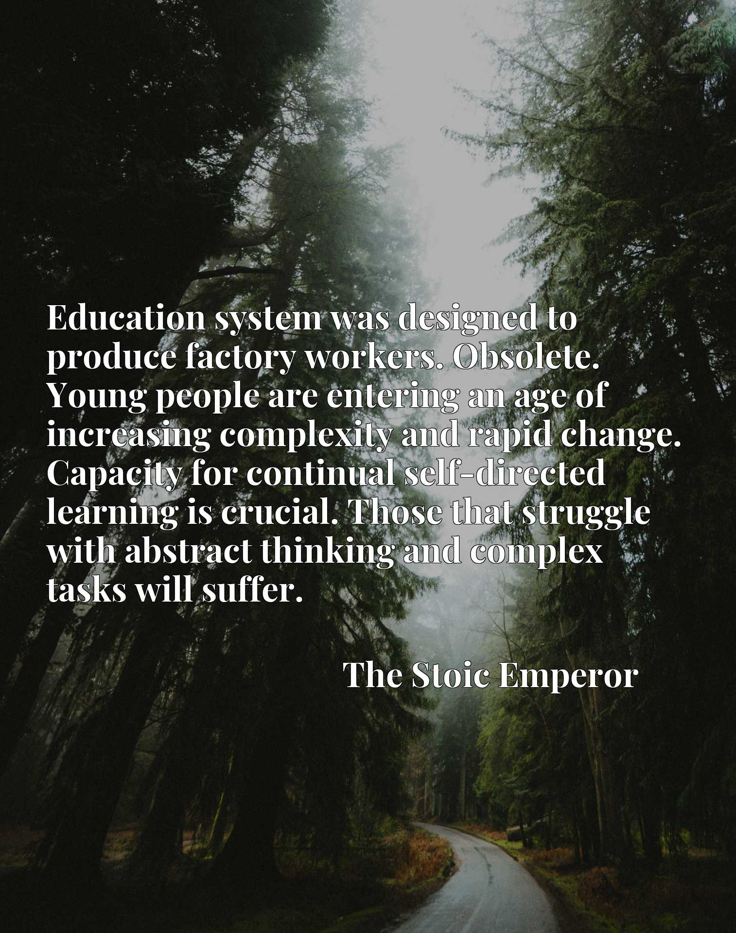 Education system was designed to produce factory workers. Obsolete. Young people are entering an age of increasing complexity and rapid change. Capacity for continual self-directed learning is crucial. Those that struggle with abstract thinking and complex tasks will suffer.