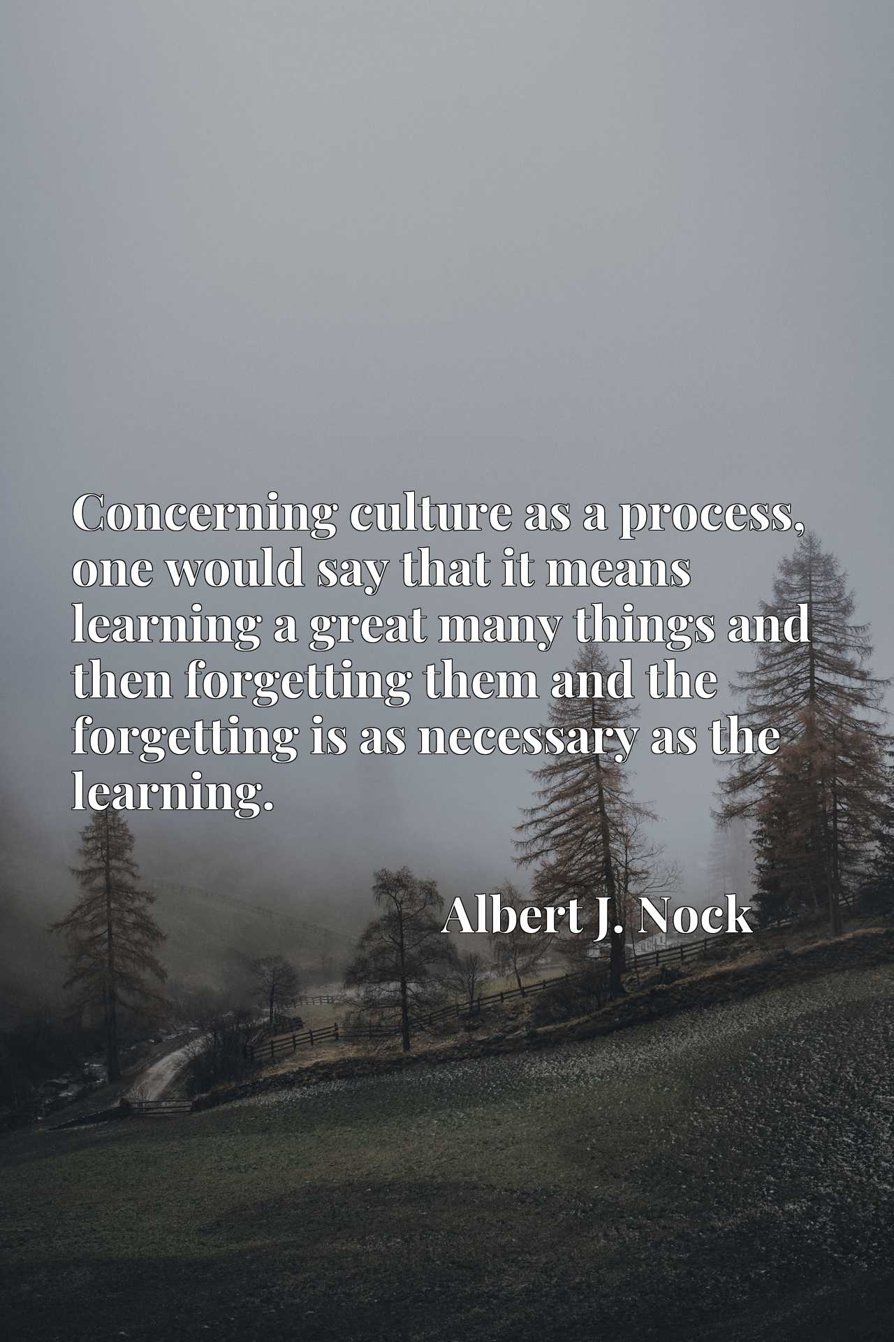 Concerning culture as a process, one would say that it means learning a great many things and then forgetting them and the forgetting is as necessary as the learning.