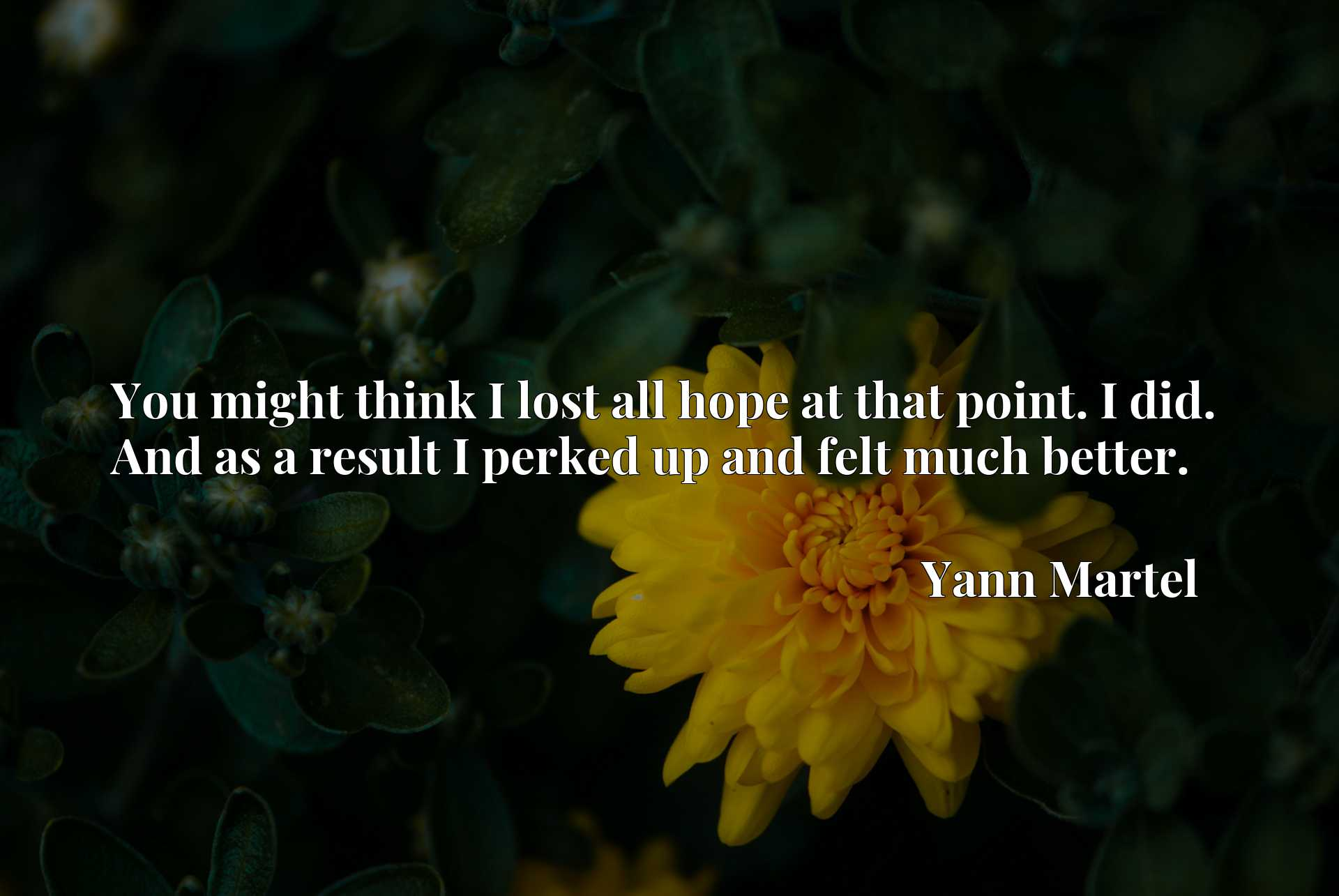 Quote Picture :You might think I lost all hope at that point. I did. And as a result I perked up and felt much better.