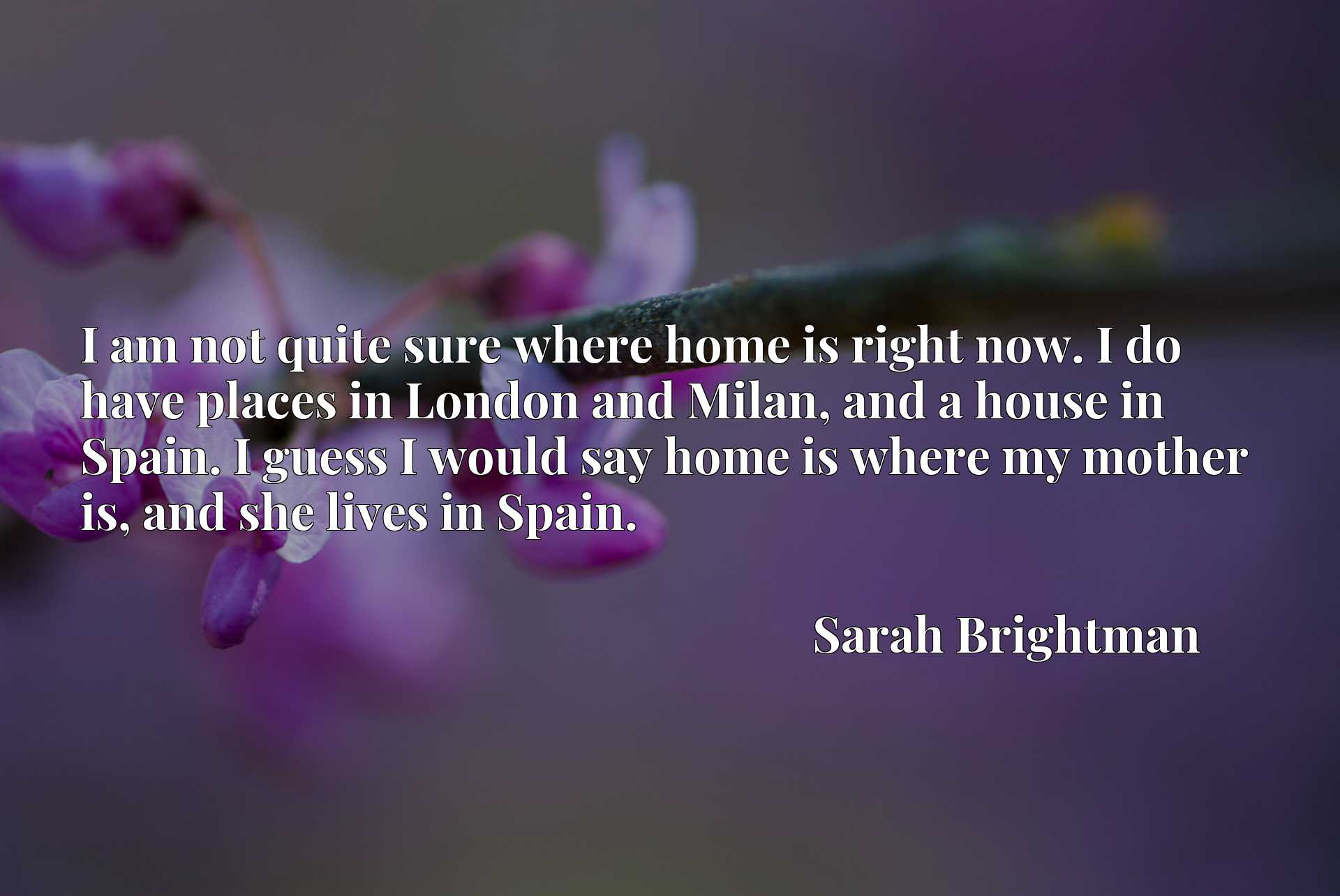 I am not quite sure where home is right now. I do have places in London and Milan, and a house in Spain. I guess I would say home is where my mother is, and she lives in Spain.