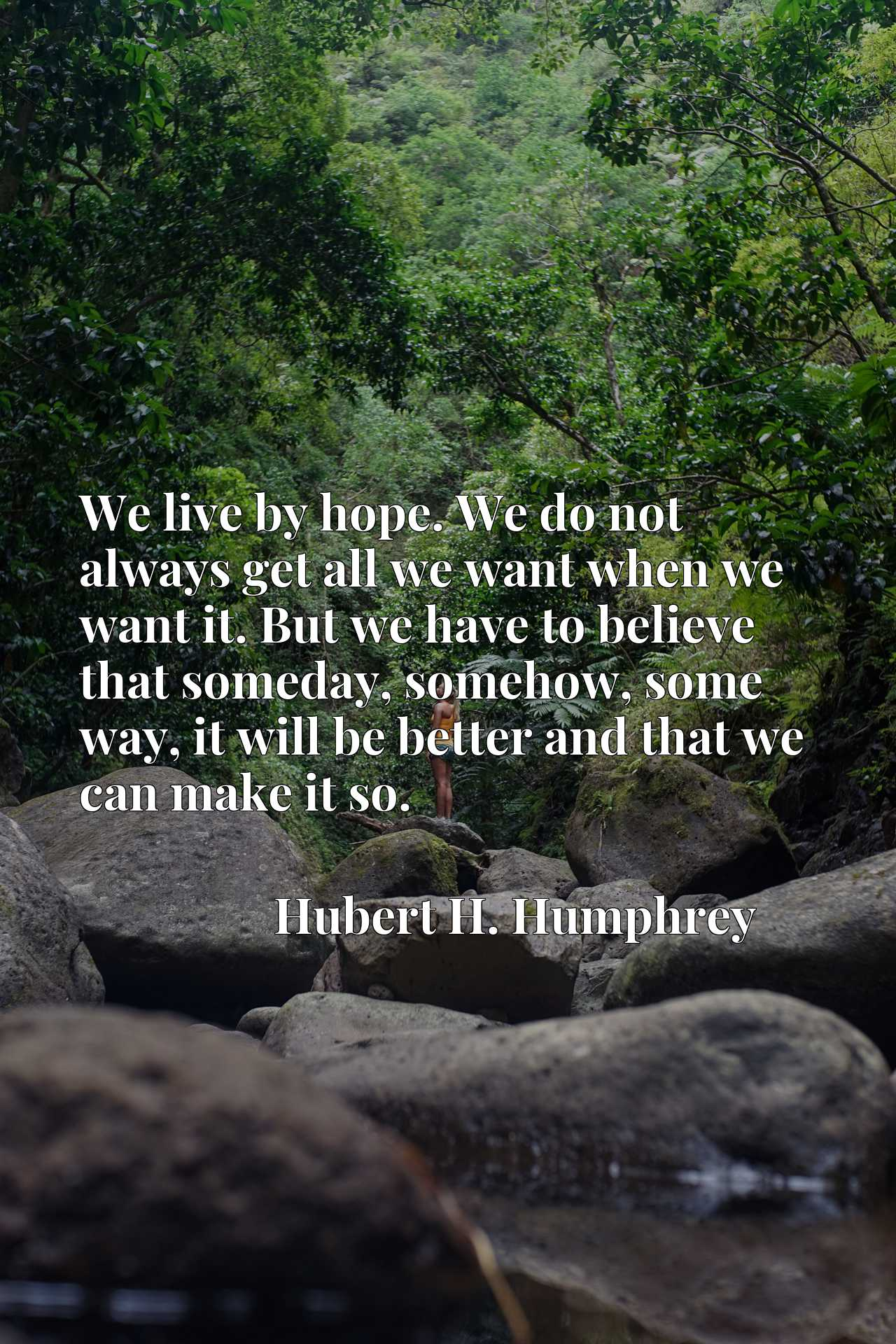 We live by hope. We do not always get all we want when we want it. But we have to believe that someday, somehow, some way, it will be better and that we can make it so.