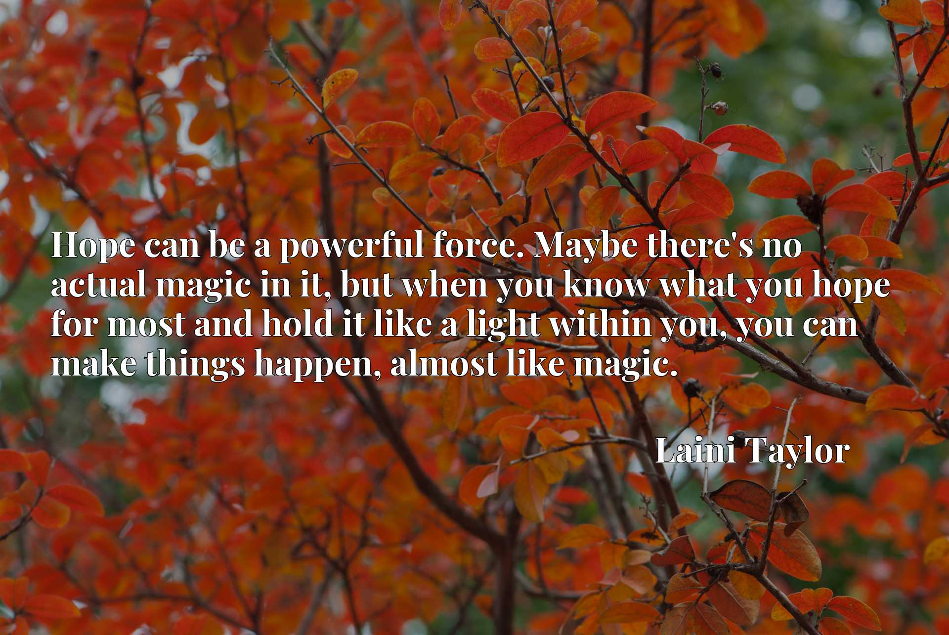 Hope can be a powerful force. Maybe there's no actual magic in it, but when you know what you hope for most and hold it like a light within you, you can make things happen, almost like magic.