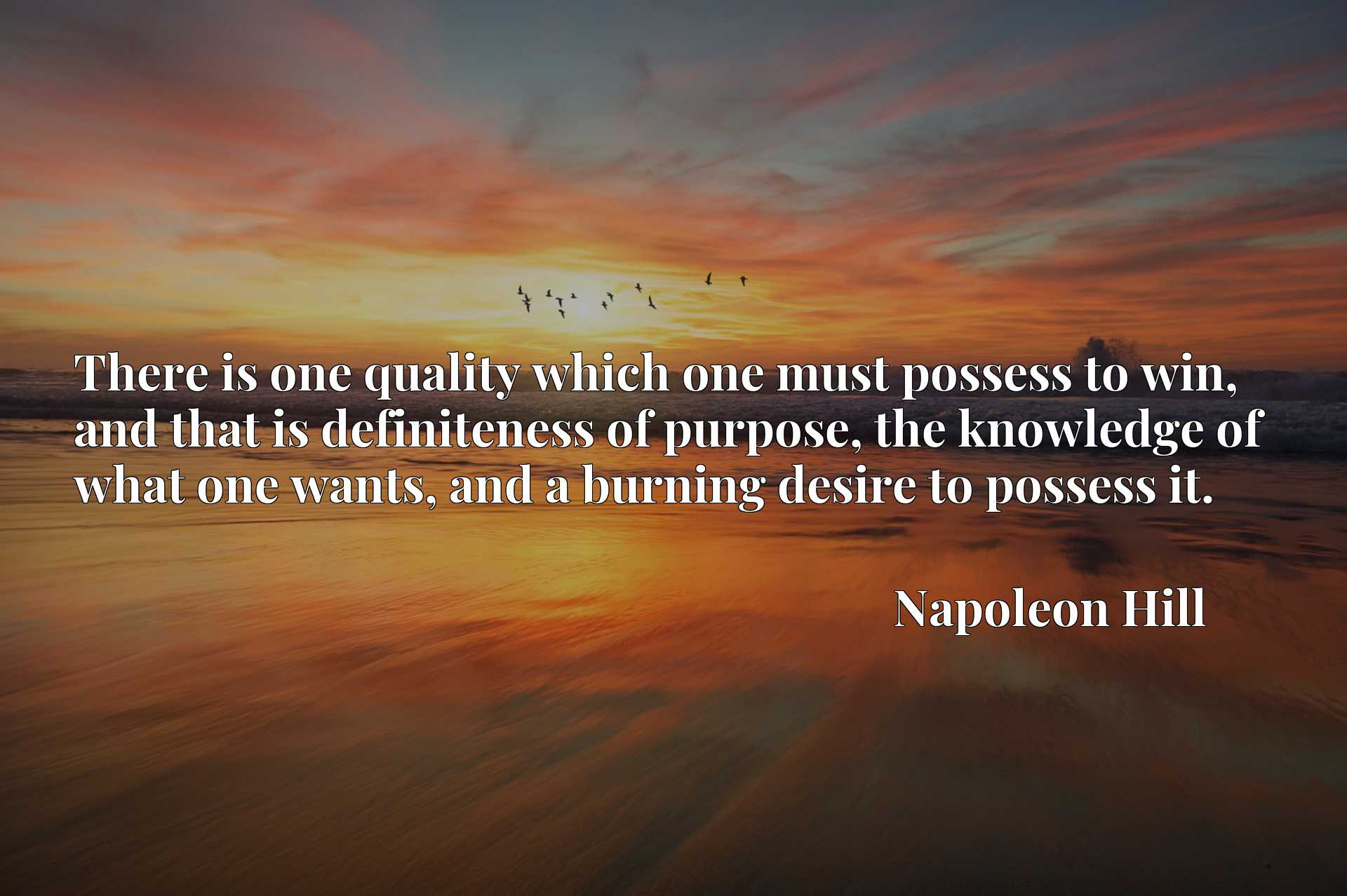 There is one quality which one must possess to win, and that is definiteness of purpose, the knowledge of what one wants, and a burning desire to possess it.