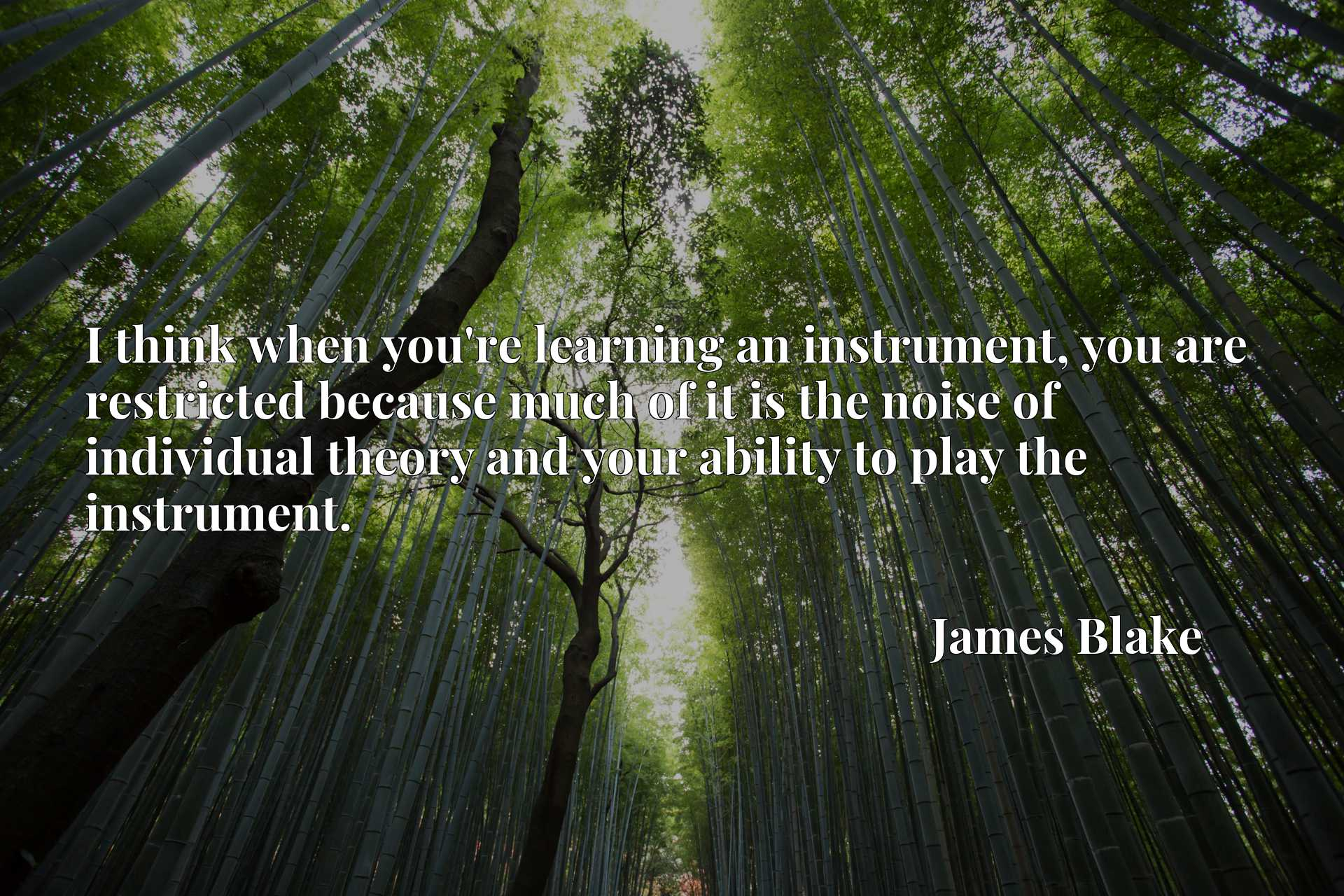 I think when you're learning an instrument, you are restricted because much of it is the noise of individual theory and your ability to play the instrument.