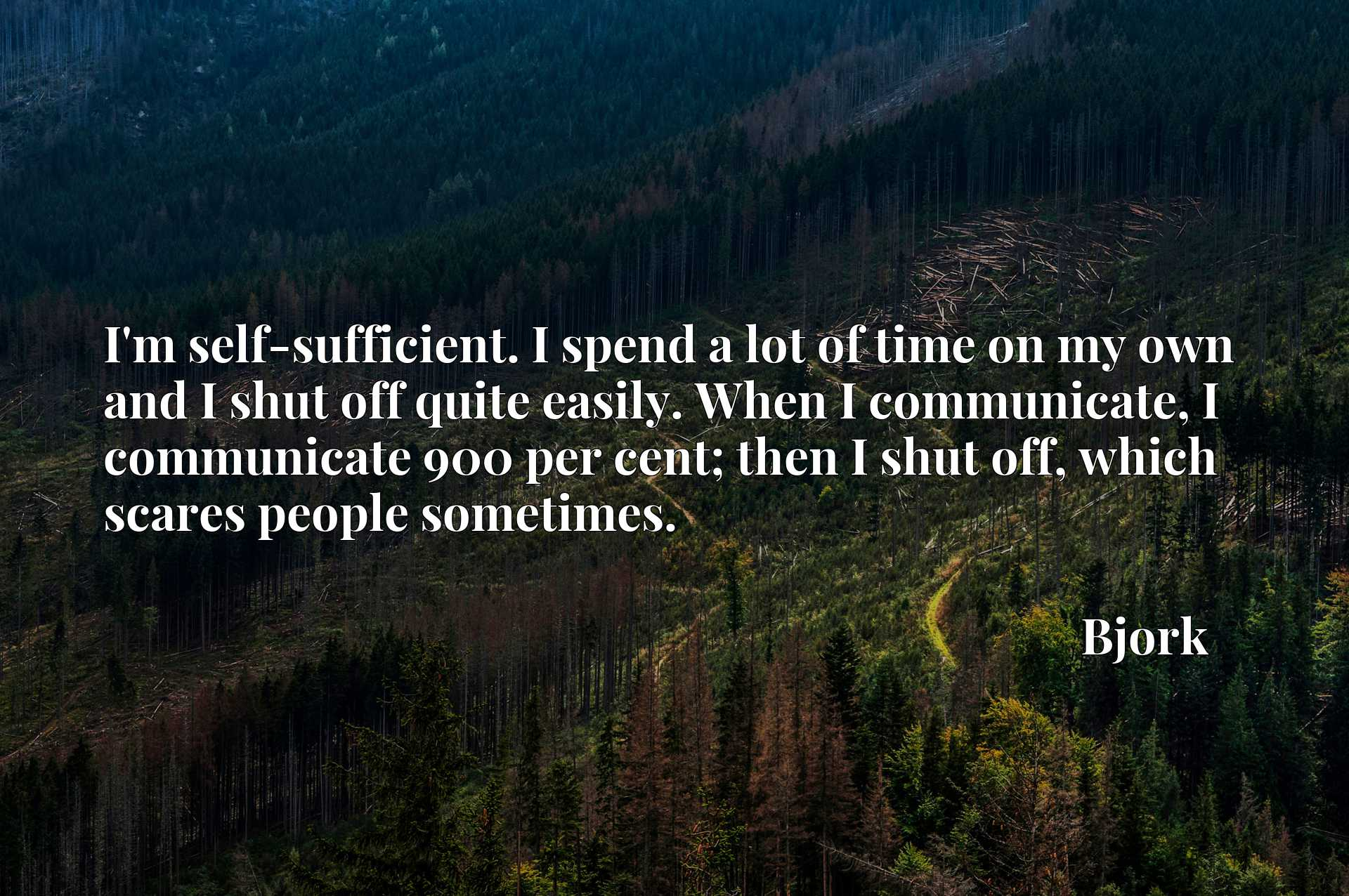 I'm self-sufficient. I spend a lot of time on my own and I shut off quite easily. When I communicate, I communicate 900 per cent; then I shut off, which scares people sometimes.