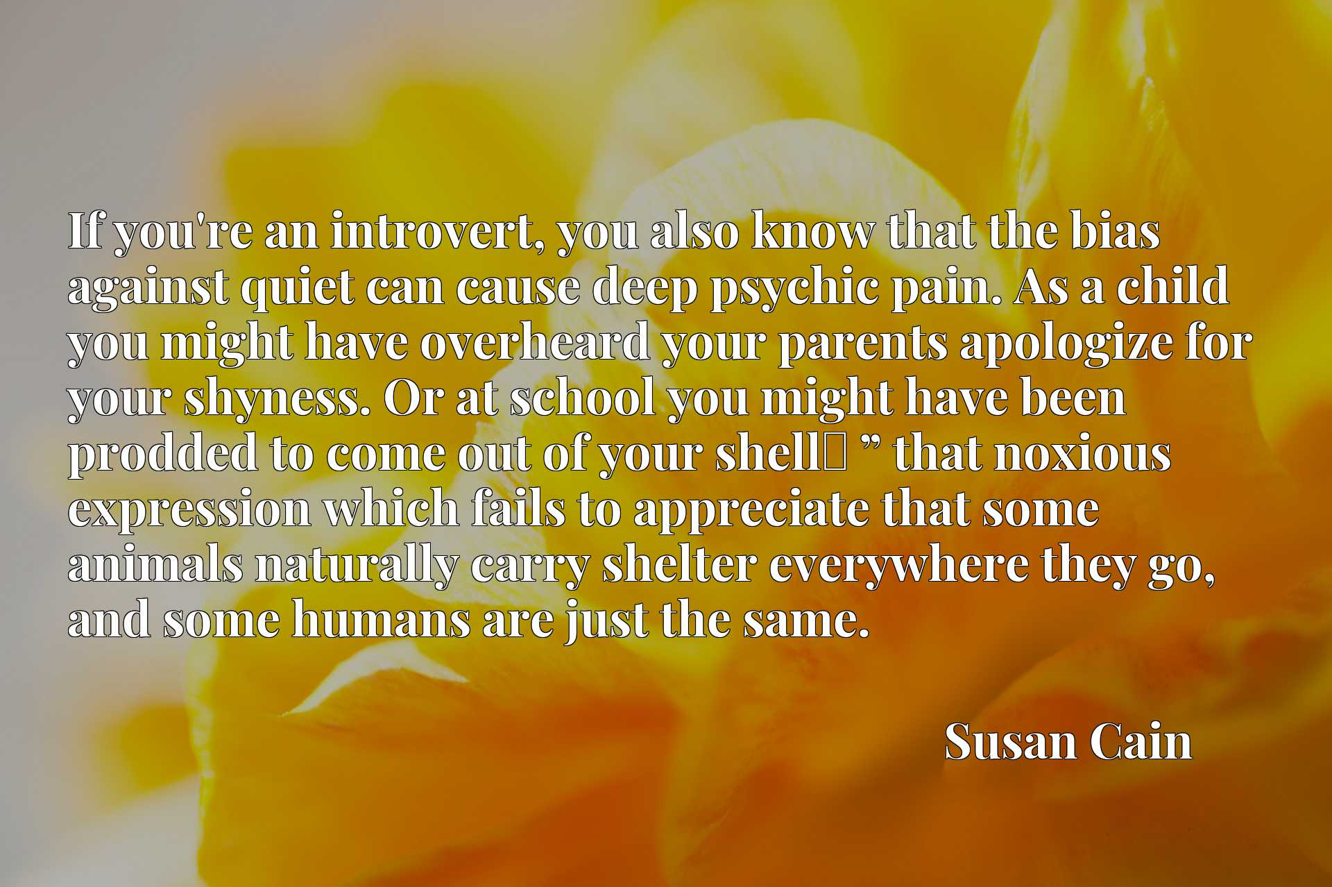 """If you're an introvert, you also know that the bias against quiet can cause deep psychic pain. As a child you might have overheard your parents apologize for your shyness. Or at school you might have been prodded to come out of your shellx9d """" that noxious expression which fails to appreciate that some animals naturally carry shelter everywhere they go, and some humans are just the same."""