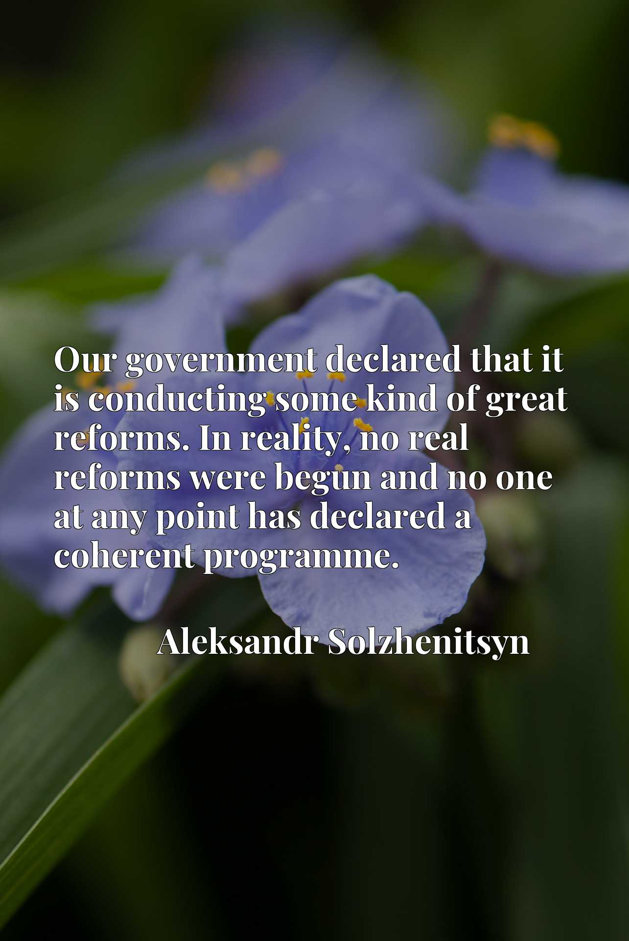 Our government declared that it is conducting some kind of great reforms. In reality, no real reforms were begun and no one at any point has declared a coherent programme.