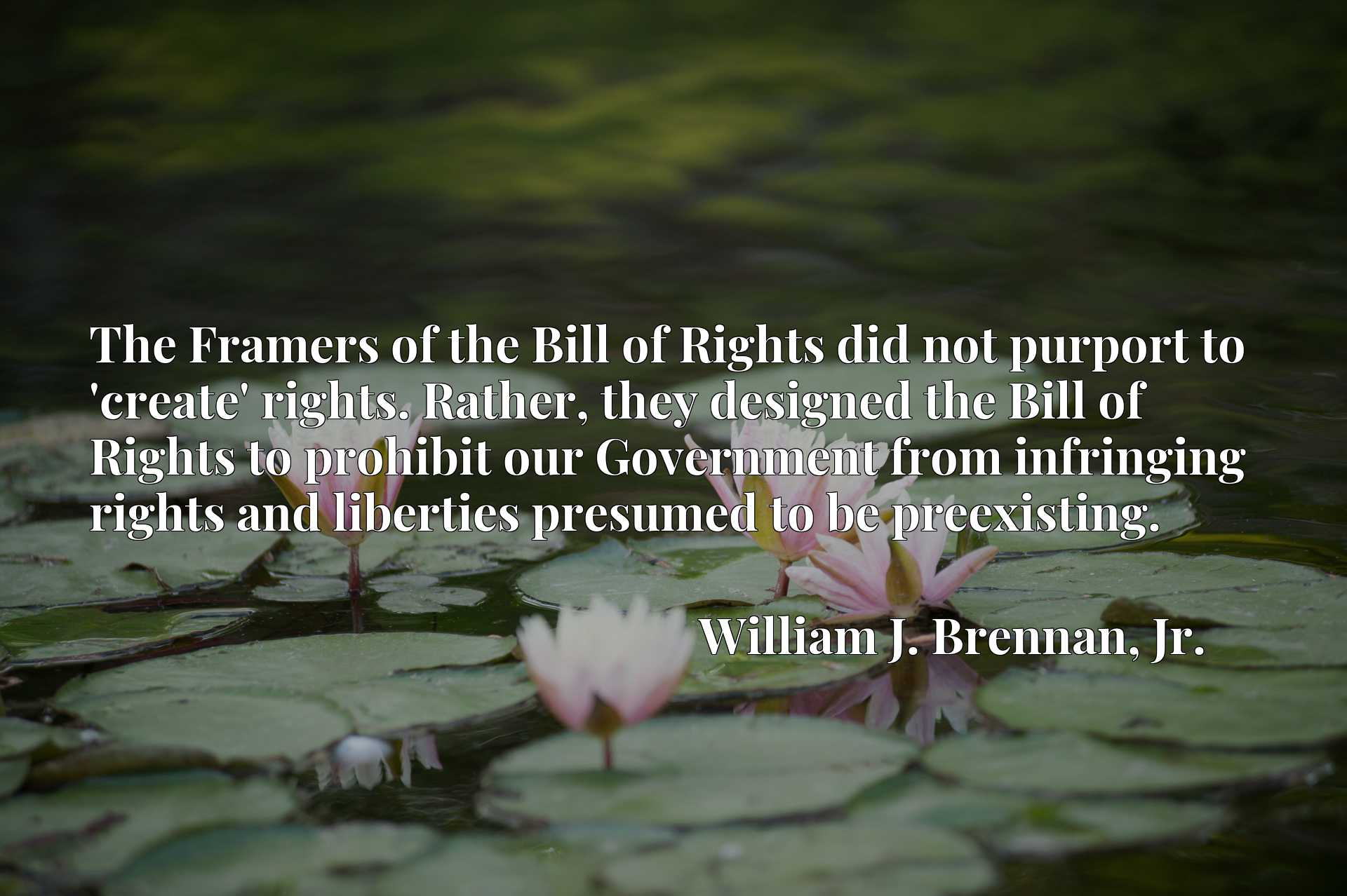 The Framers of the Bill of Rights did not purport to 'create' rights. Rather, they designed the Bill of Rights to prohibit our Government from infringing rights and liberties presumed to be preexisting.