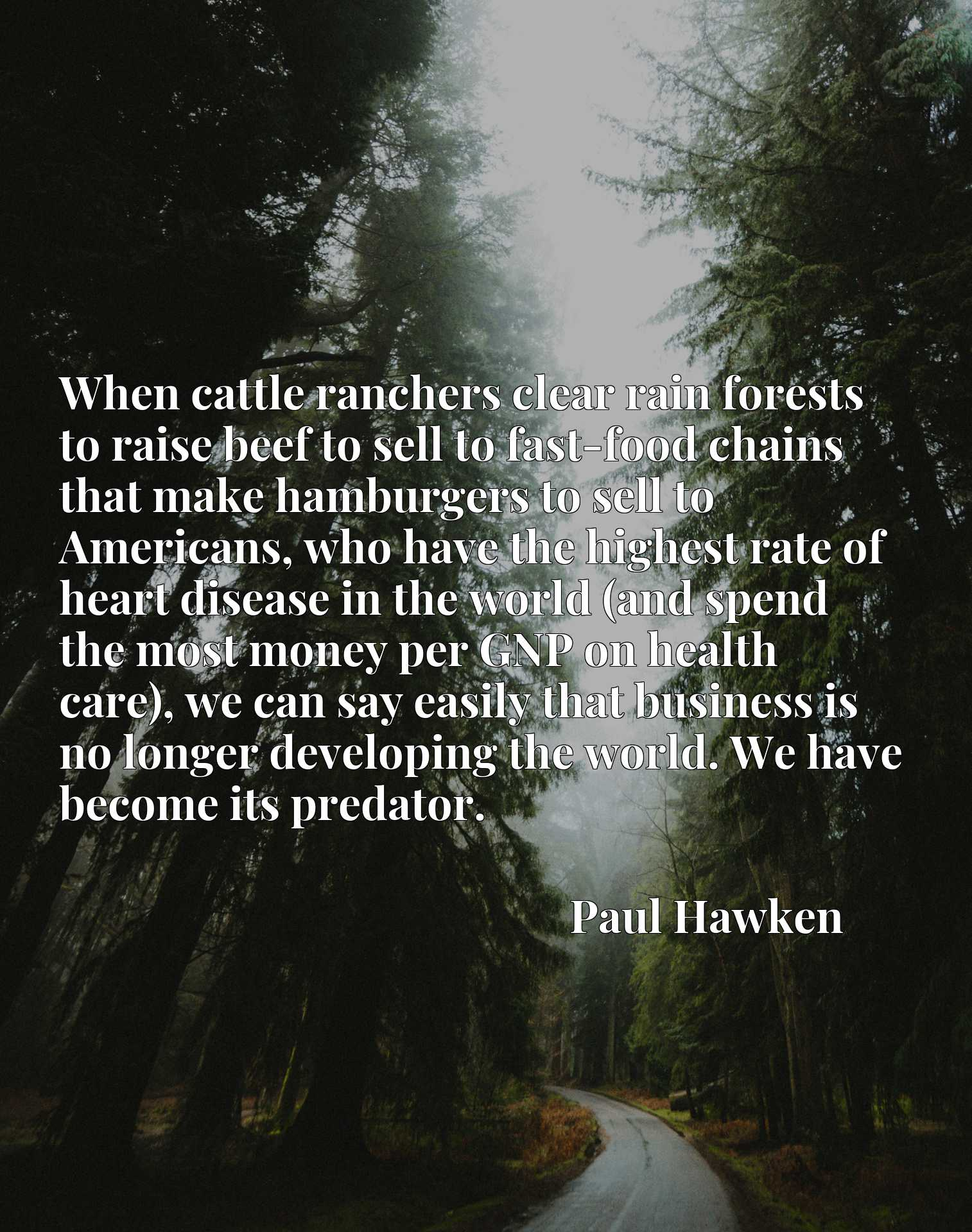 When cattle ranchers clear rain forests to raise beef to sell to fast-food chains that make hamburgers to sell to Americans, who have the highest rate of heart disease in the world (and spend the most money per GNP on health care), we can say easily that business is no longer developing the world. We have become its predator.