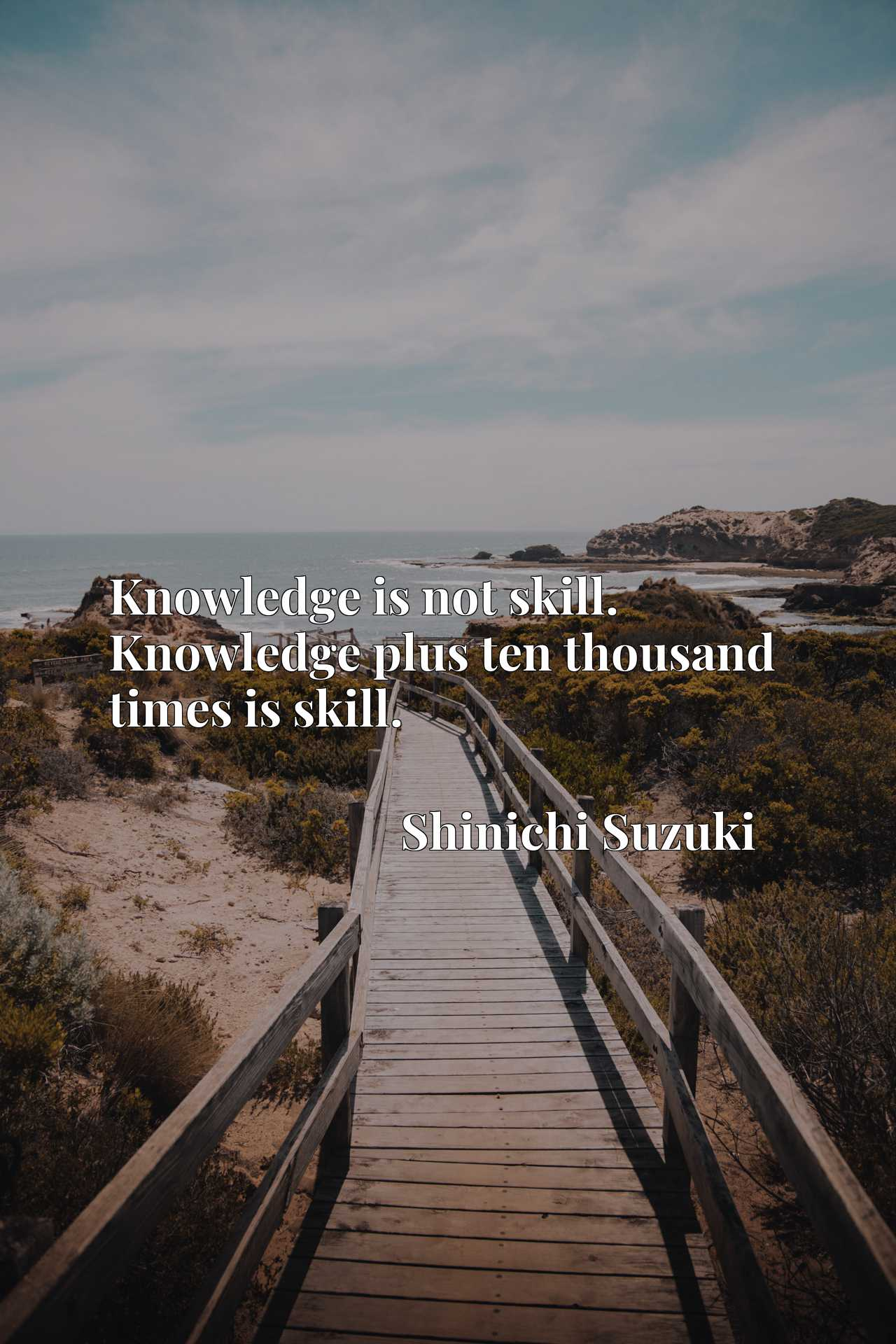 Knowledge is not skill. Knowledge plus ten thousand times is skill.