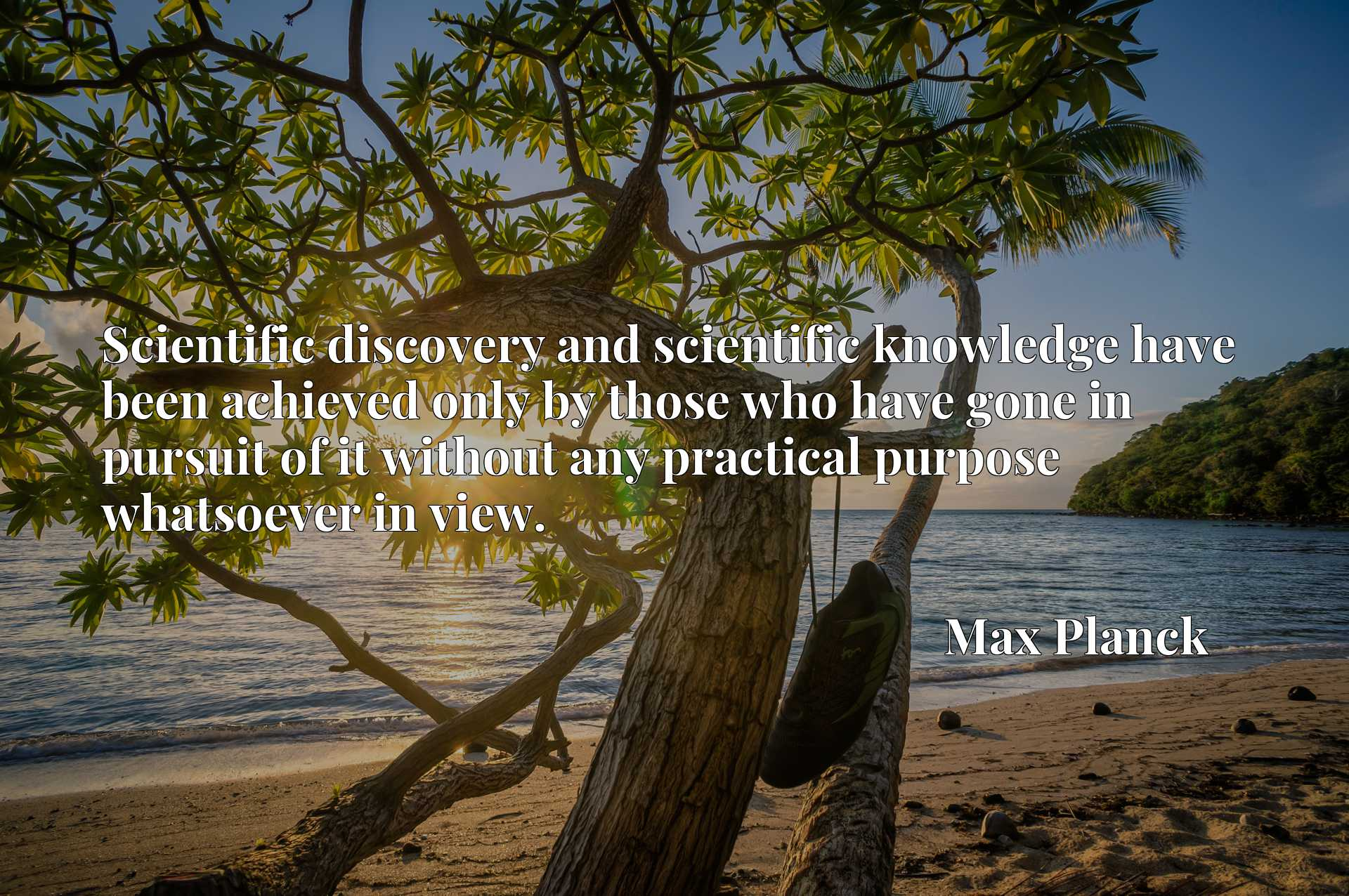 Scientific discovery and scientific knowledge have been achieved only by those who have gone in pursuit of it without any practical purpose whatsoever in view.