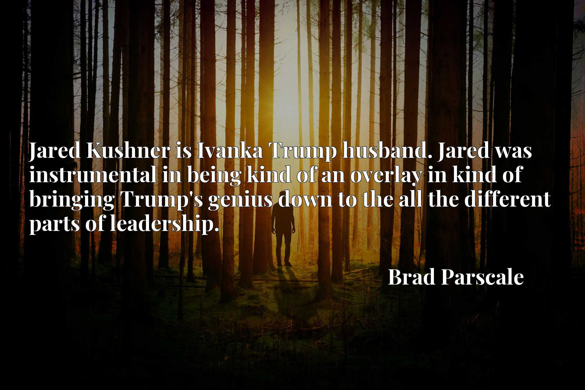 Jared Kushner is Ivanka Trump husband. Jared was instrumental in being kind of an overlay in kind of bringing Trump's genius down to the all the different parts of leadership.
