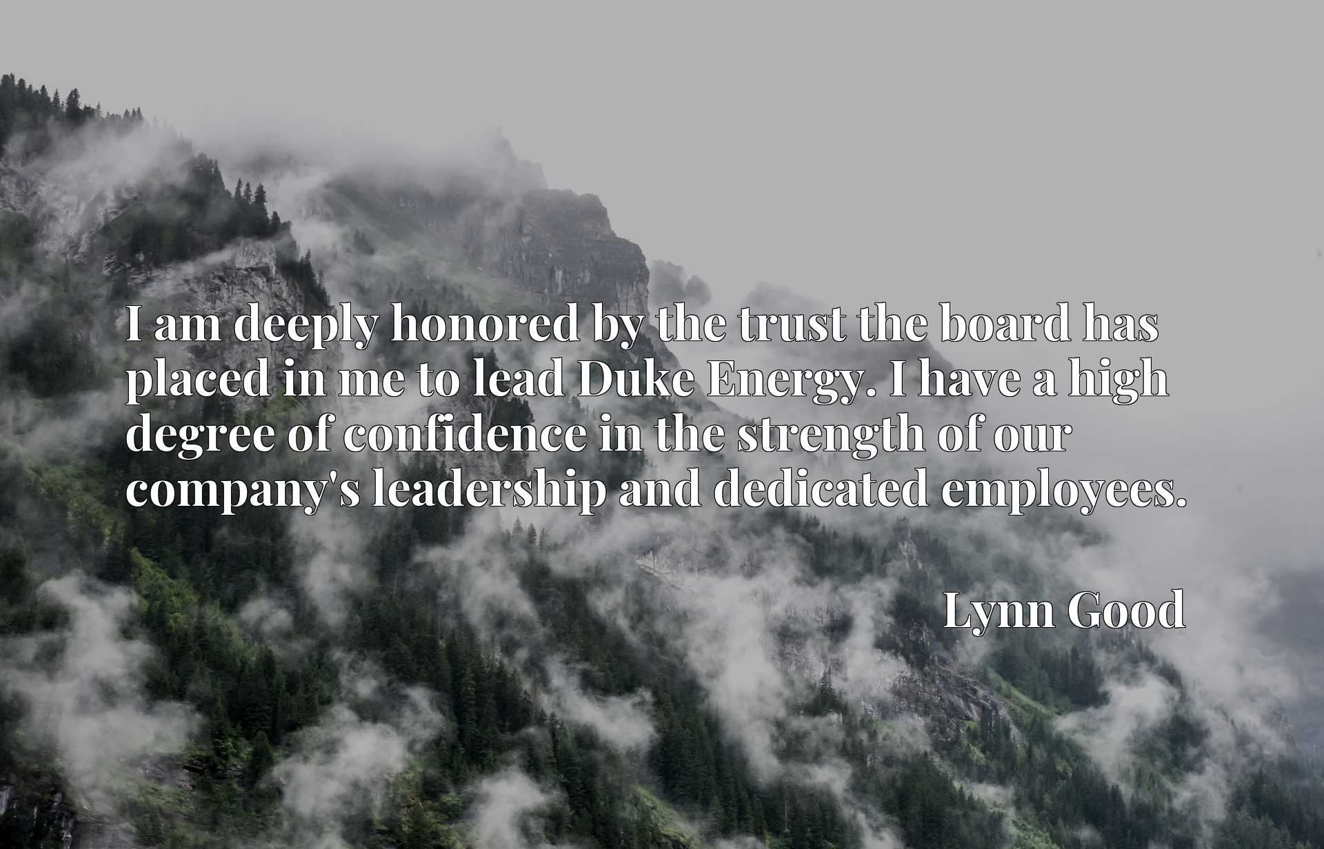 Quote Picture :I am deeply honored by the trust the board has placed in me to lead Duke Energy. I have a high degree of confidence in the strength of our company's leadership and dedicated employees.