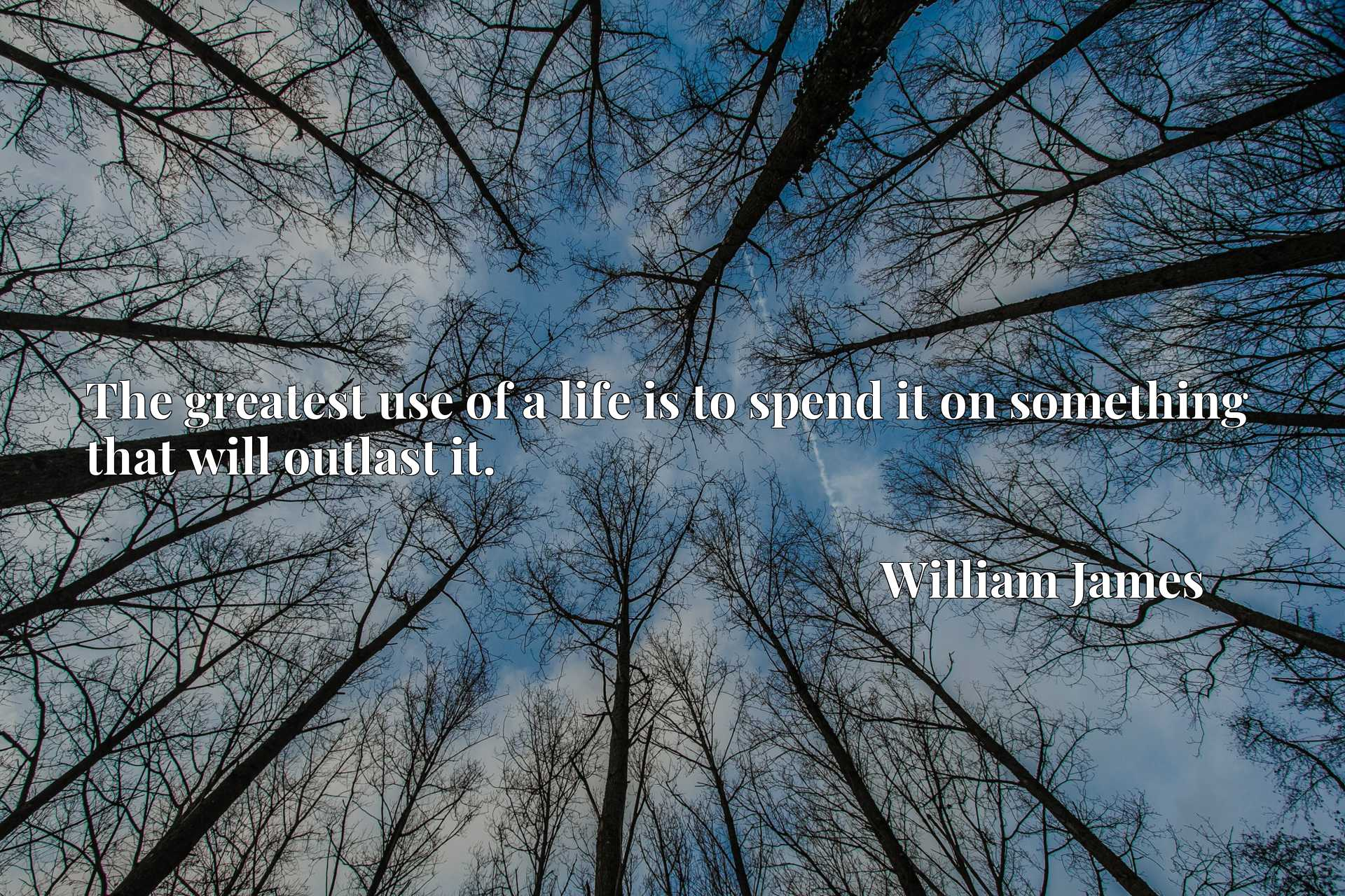 Quote Picture :The greatest use of a life is to spend it on something that will outlast it.