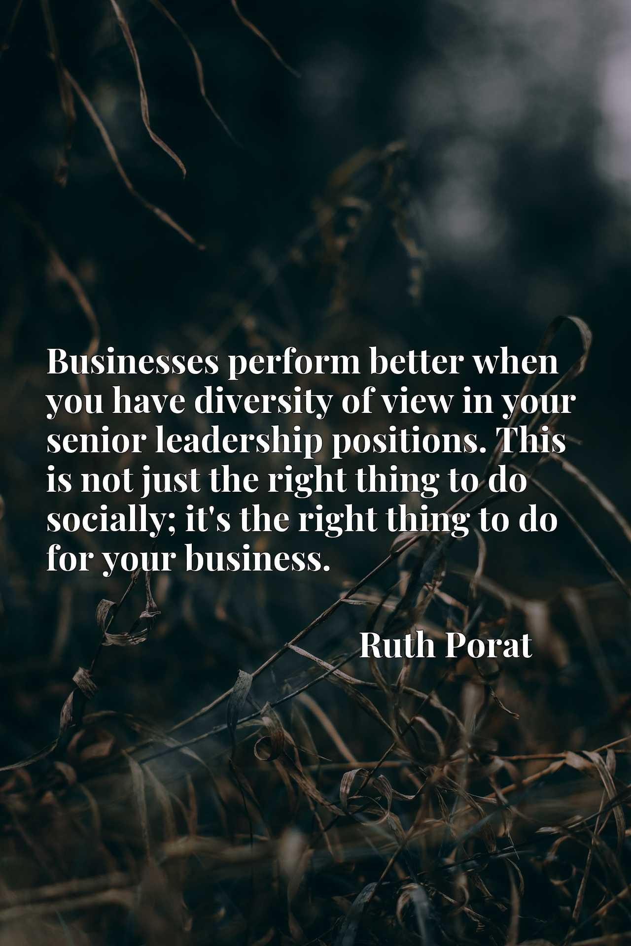 Quote Picture :Businesses perform better when you have diversity of view in your senior leadership positions. This is not just the right thing to do socially; it's the right thing to do for your business.