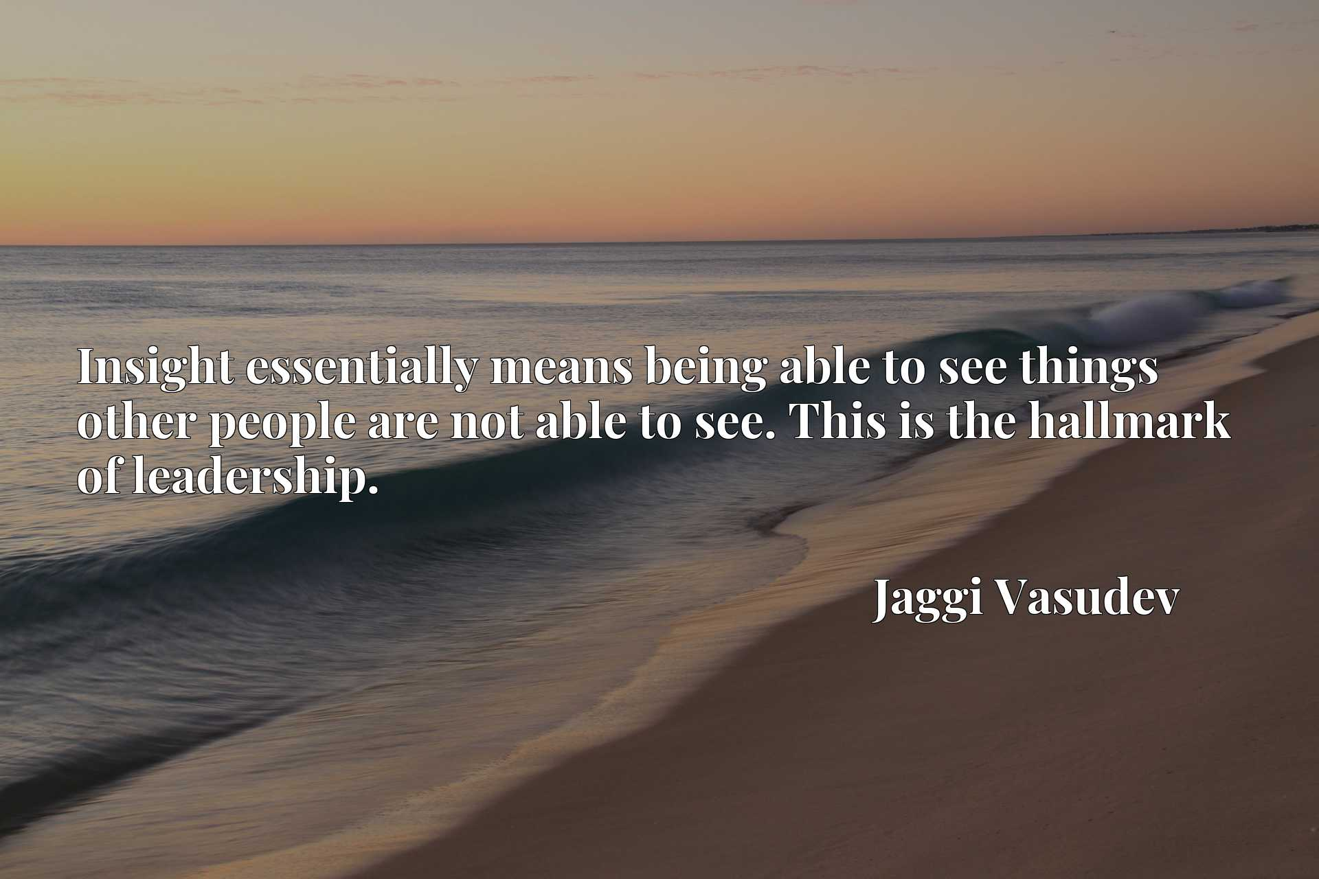 Quote Picture :Insight essentially means being able to see things other people are not able to see. This is the hallmark of leadership.