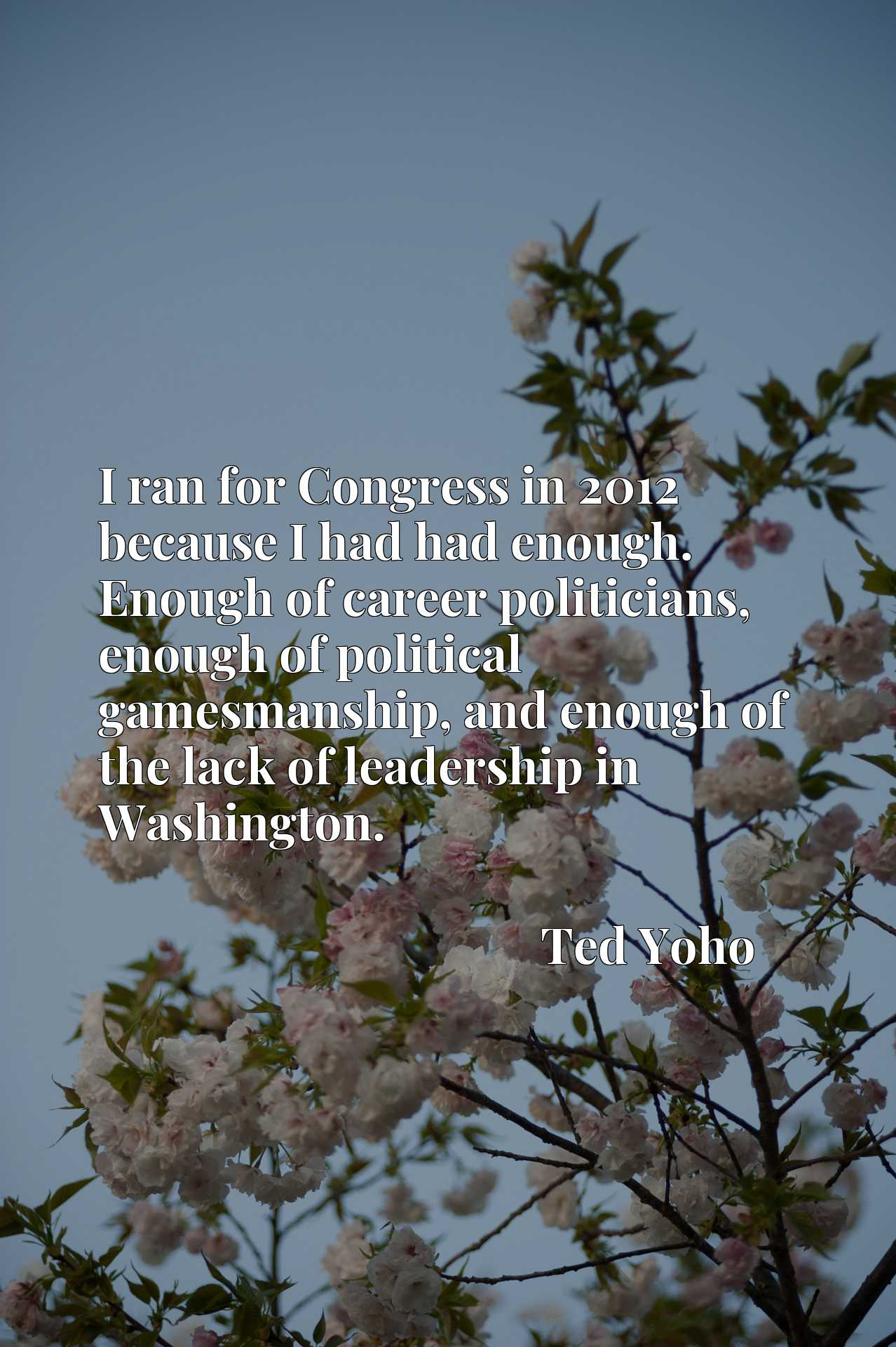 I ran for Congress in 2012 because I had had enough. Enough of career politicians, enough of political gamesmanship, and enough of the lack of leadership in Washington.