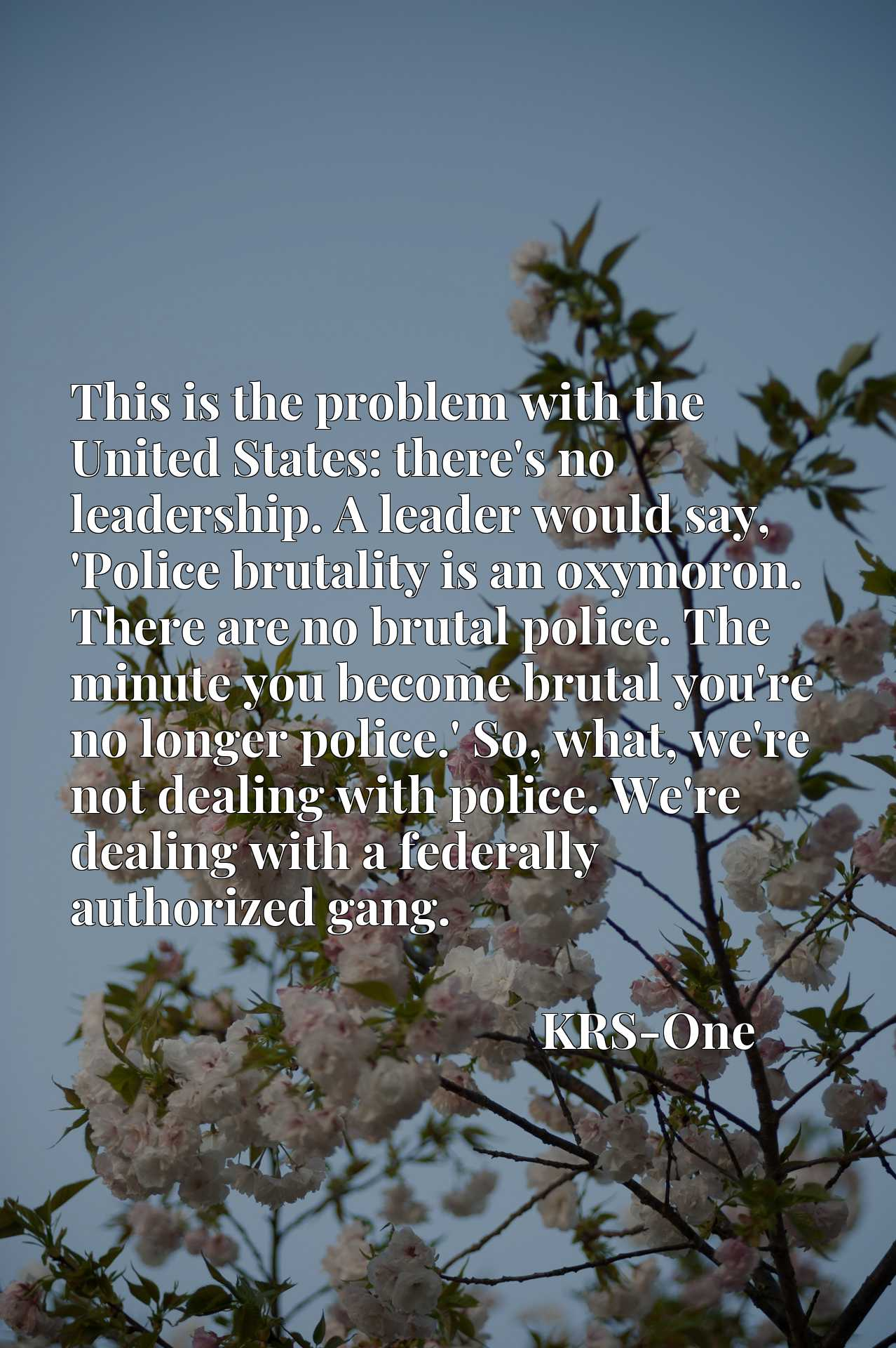 This is the problem with the United States: there's no leadership. A leader would say, 'Police brutality is an oxymoron. There are no brutal police. The minute you become brutal you're no longer police.' So, what, we're not dealing with police. We're dealing with a federally authorized gang.