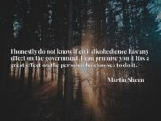 I honestly do not know if civil disobedience has any effect on the government. I can promise you it has a great effect on the person who chooses to do it.