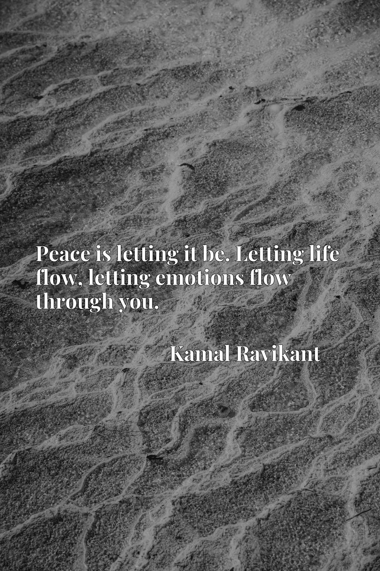 Peace is letting it be. Letting life flow, letting emotions flow through you.